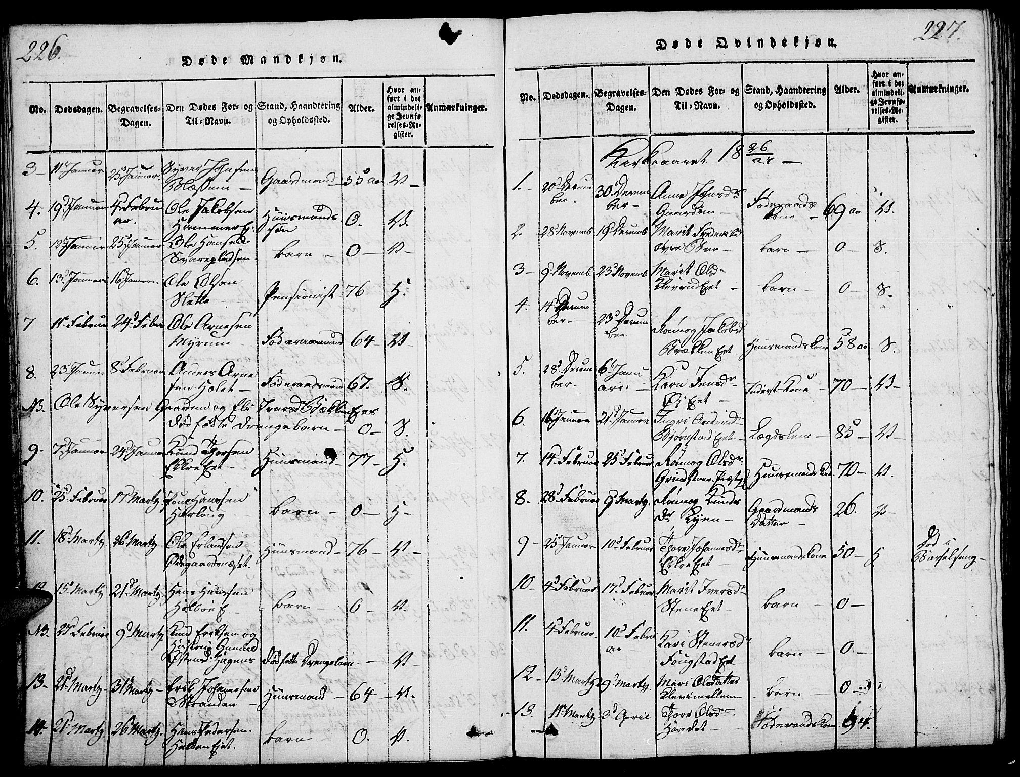 SAH, Vågå prestekontor, Ministerialbok nr. 3, 1815-1827, s. 226-227