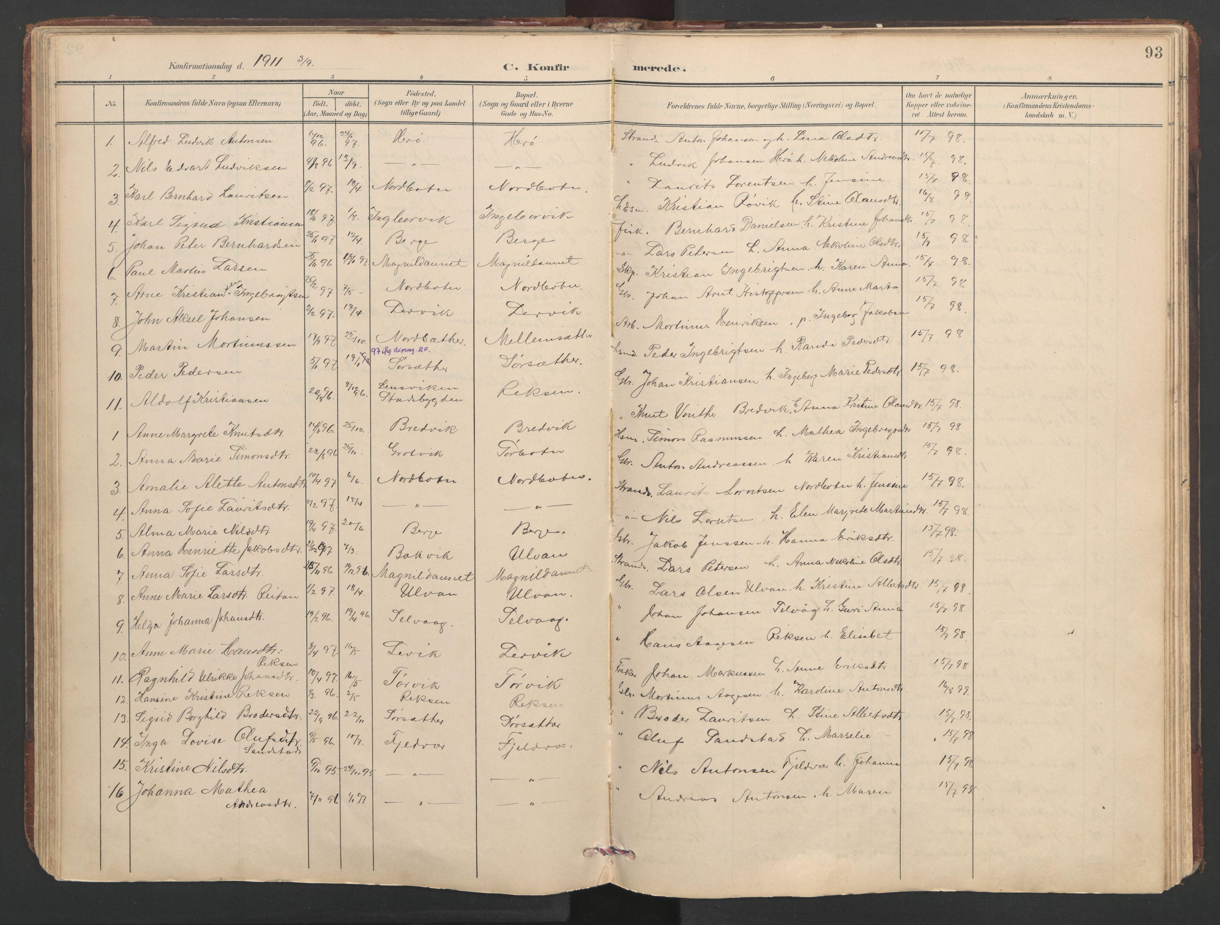 SAT, Ministerialprotokoller, klokkerbøker og fødselsregistre - Sør-Trøndelag, 638/L0571: Klokkerbok nr. 638C03, 1901-1930, s. 93