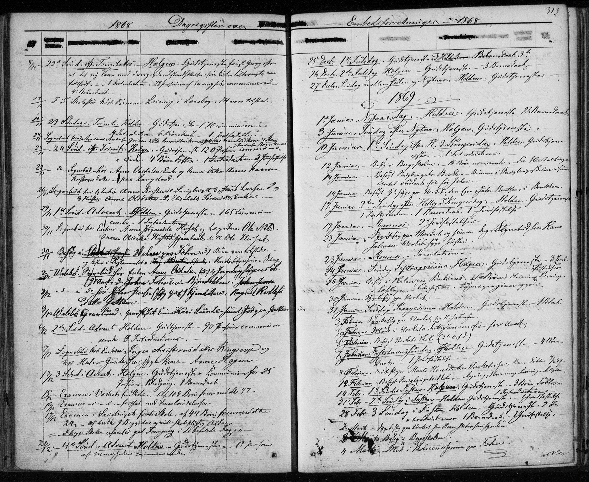 SAKO, Holla kirkebøker, F/Fa/L0006: Ministerialbok nr. 6, 1861-1869, s. 313