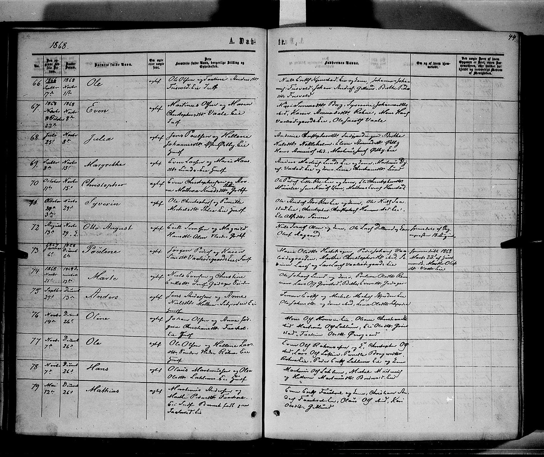 SAH, Stange prestekontor, K/L0013: Ministerialbok nr. 13, 1862-1879, s. 44
