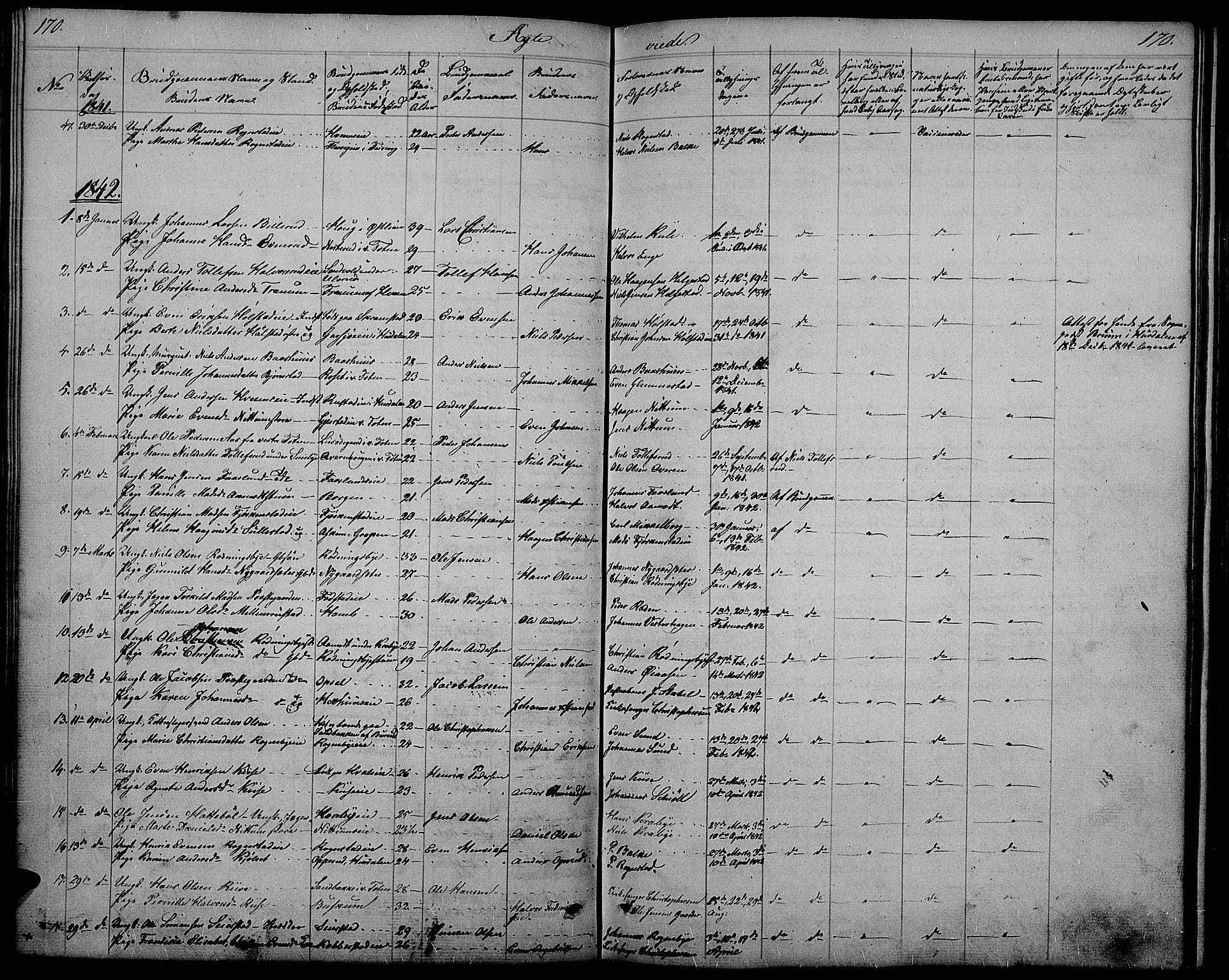 SAH, Østre Toten prestekontor, Klokkerbok nr. 2, 1840-1847, s. 170
