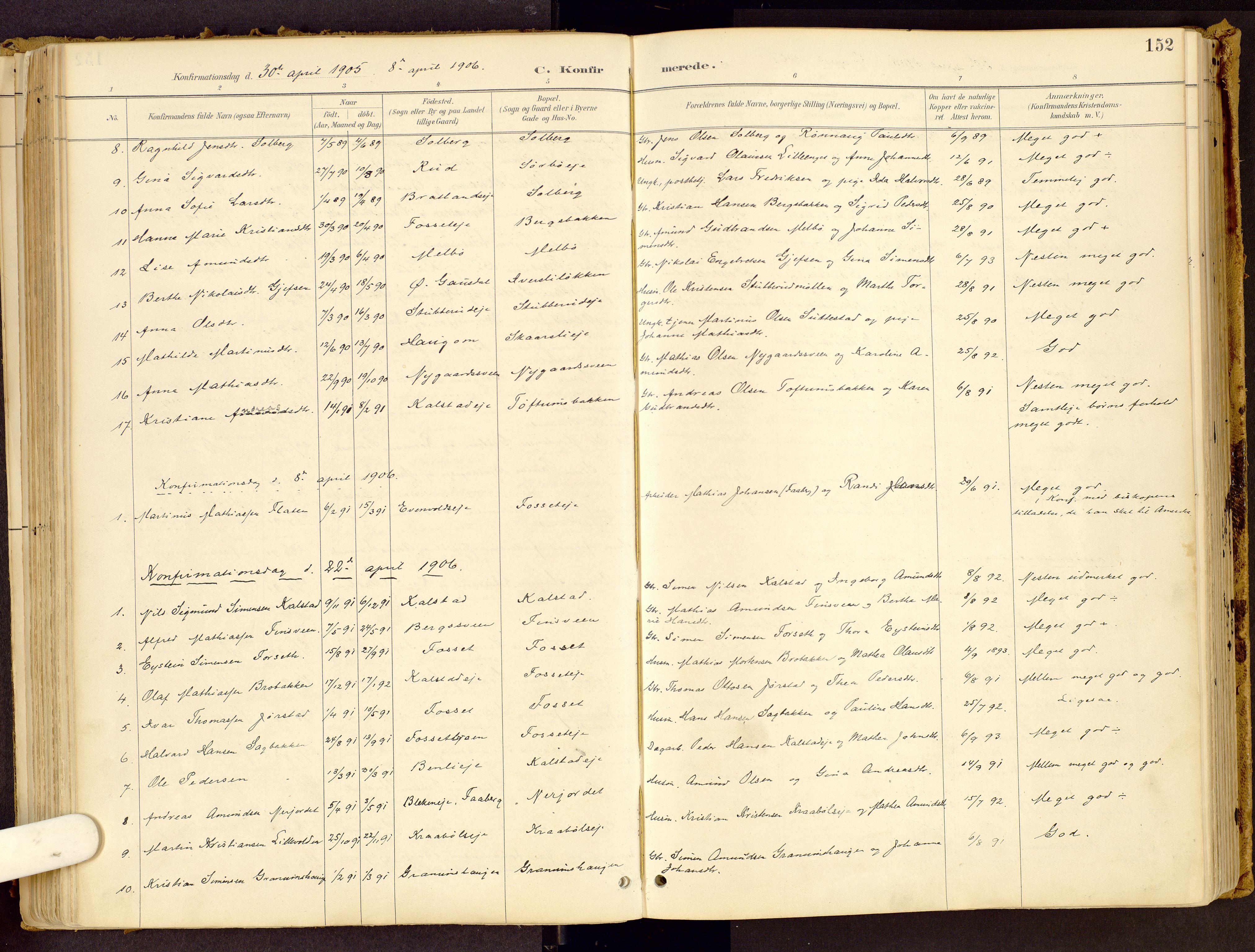 SAH, Vestre Gausdal prestekontor, Ministerialbok nr. 1, 1887-1914, s. 152