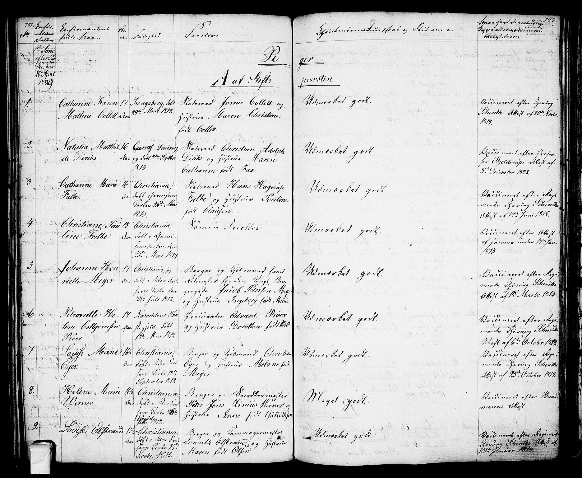 SAO, Oslo domkirke Kirkebøker, F/Fa/L0010: Ministerialbok nr. 10, 1824-1830, s. 742-743