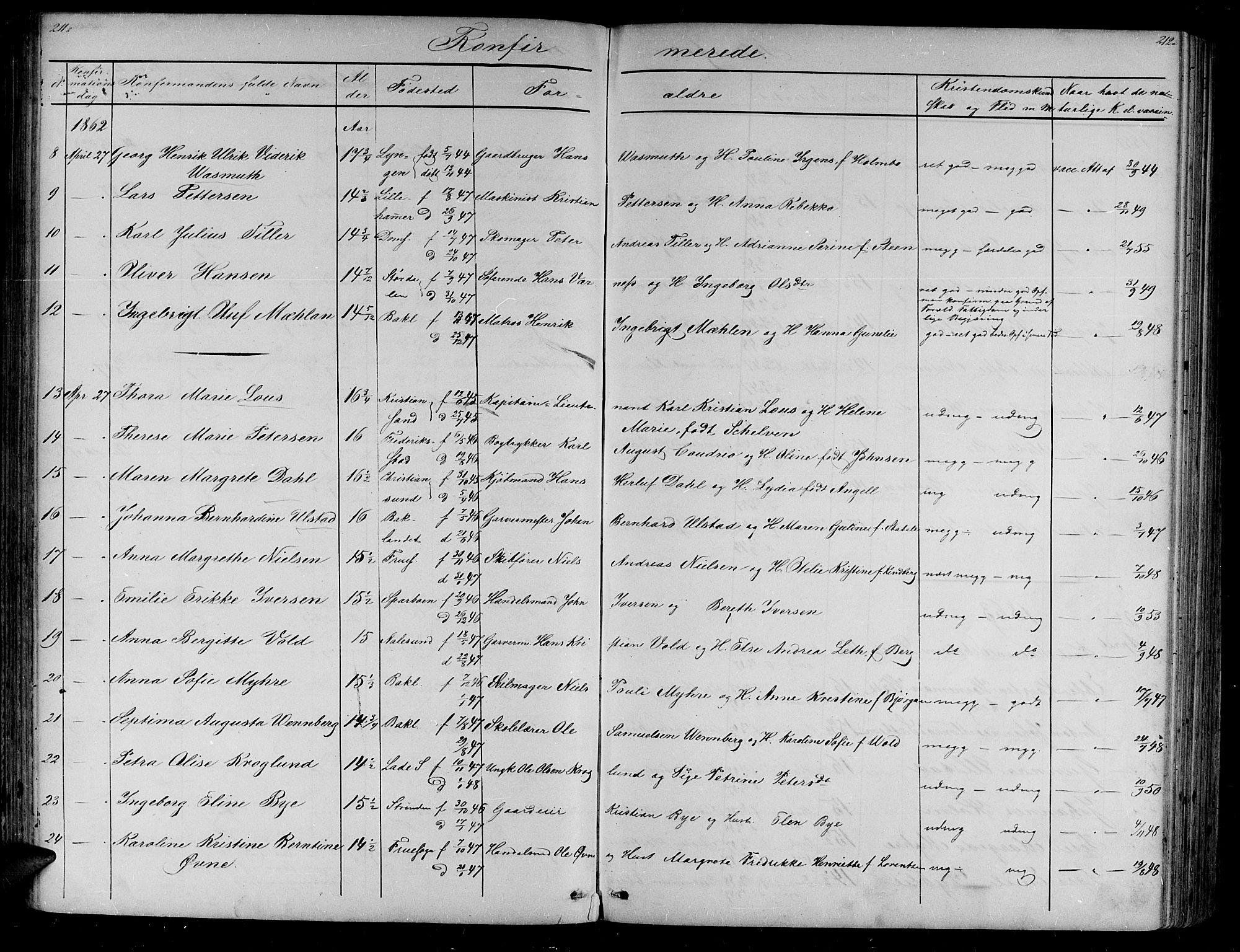 SAT, Ministerialprotokoller, klokkerbøker og fødselsregistre - Sør-Trøndelag, 604/L0219: Klokkerbok nr. 604C02, 1851-1869, s. 211-212
