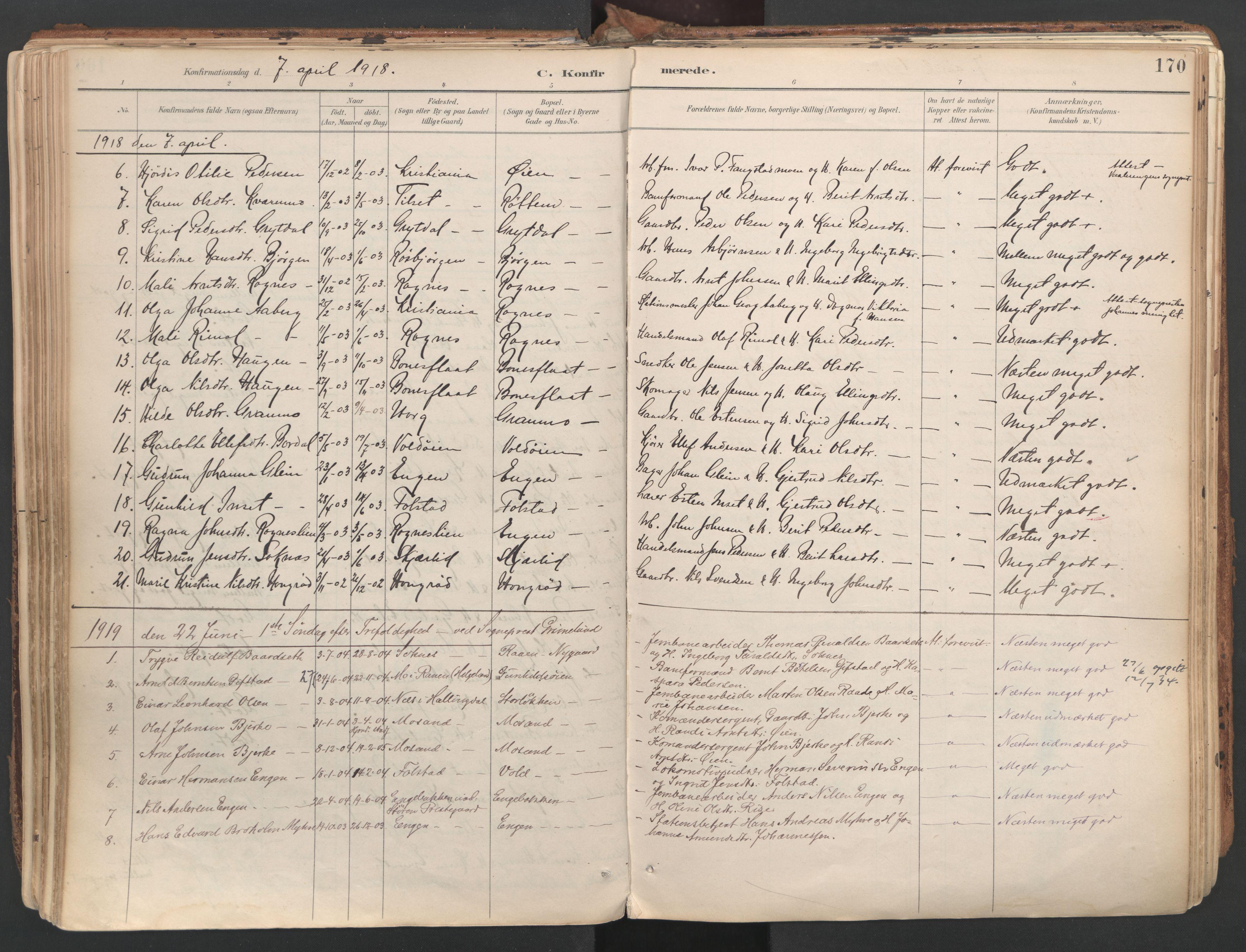 SAT, Ministerialprotokoller, klokkerbøker og fødselsregistre - Sør-Trøndelag, 687/L1004: Ministerialbok nr. 687A10, 1891-1923, s. 170