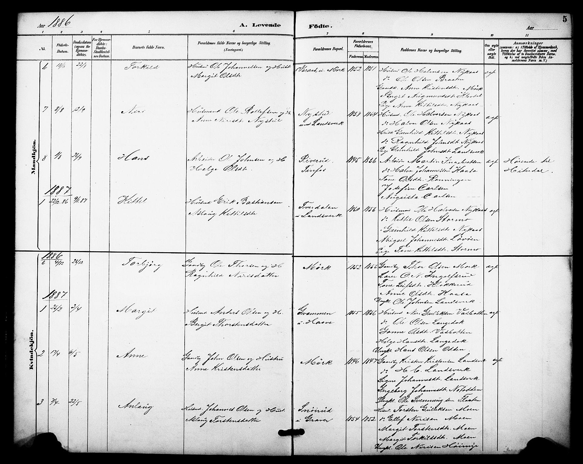 SAKO, Heddal kirkebøker, F/Fb/L0001: Ministerialbok nr. II 1, 1884-1910, s. 5
