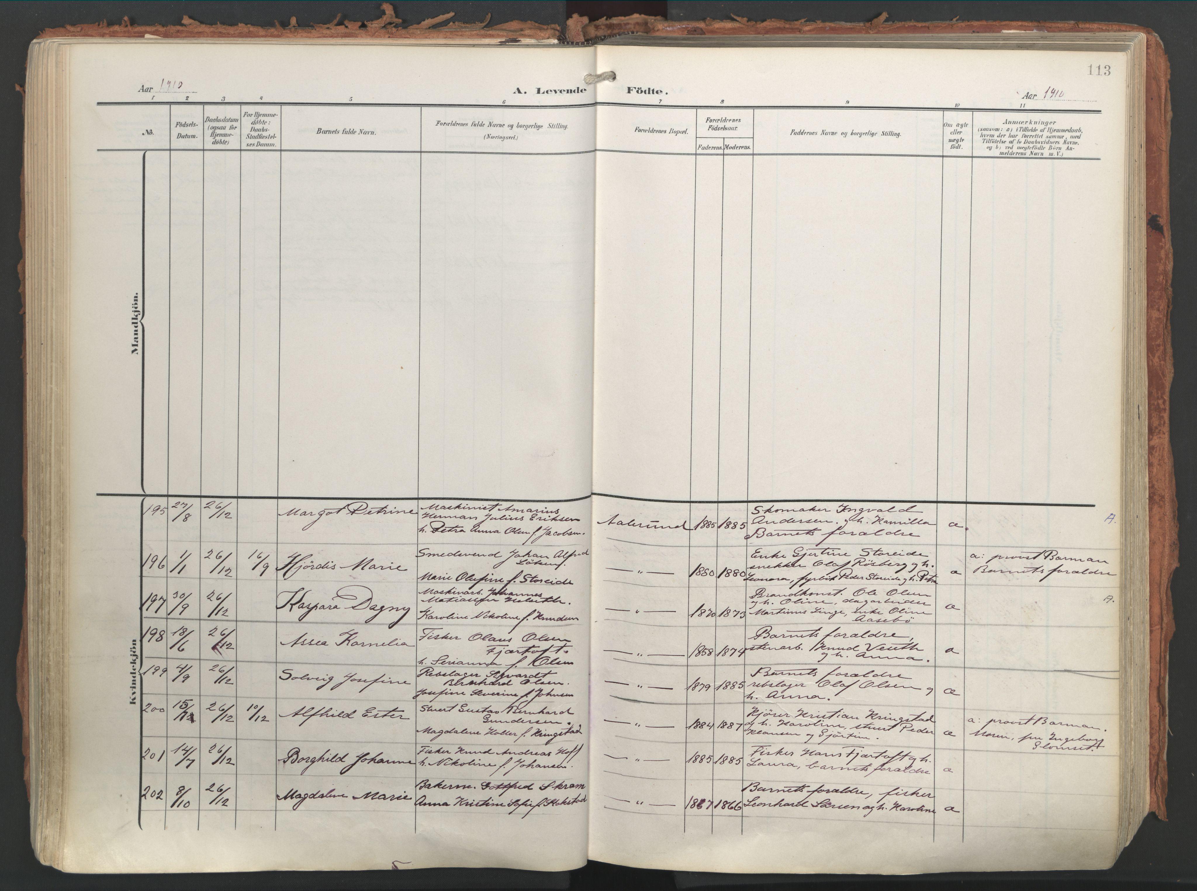 SAT, Ministerialprotokoller, klokkerbøker og fødselsregistre - Møre og Romsdal, 529/L0460: Ministerialbok nr. 529A10, 1906-1917, s. 113