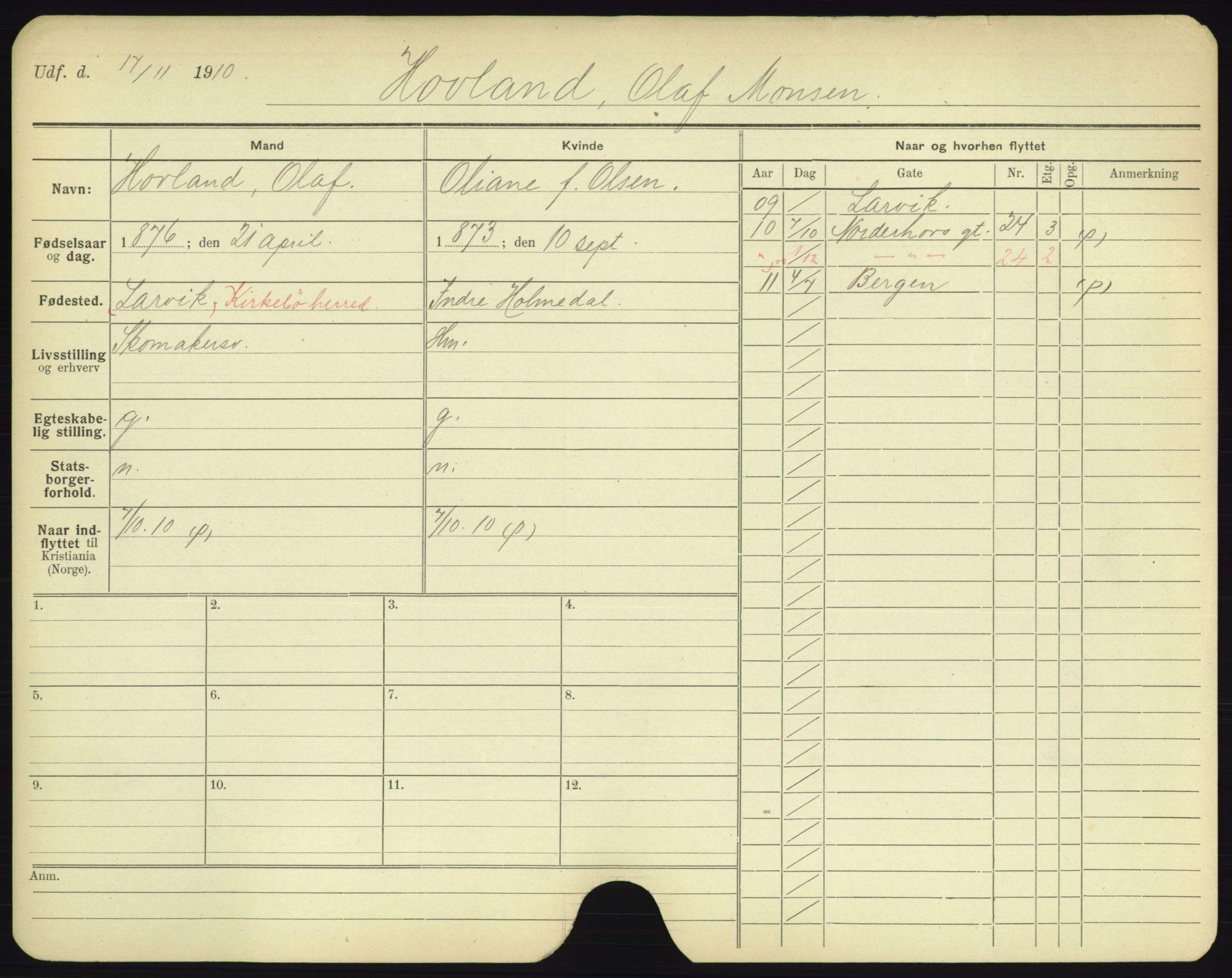 SAO, Oslo folkeregister, Registerkort, F/Fa/Fac/L0003: Menn, 1906-1914, s. 976a