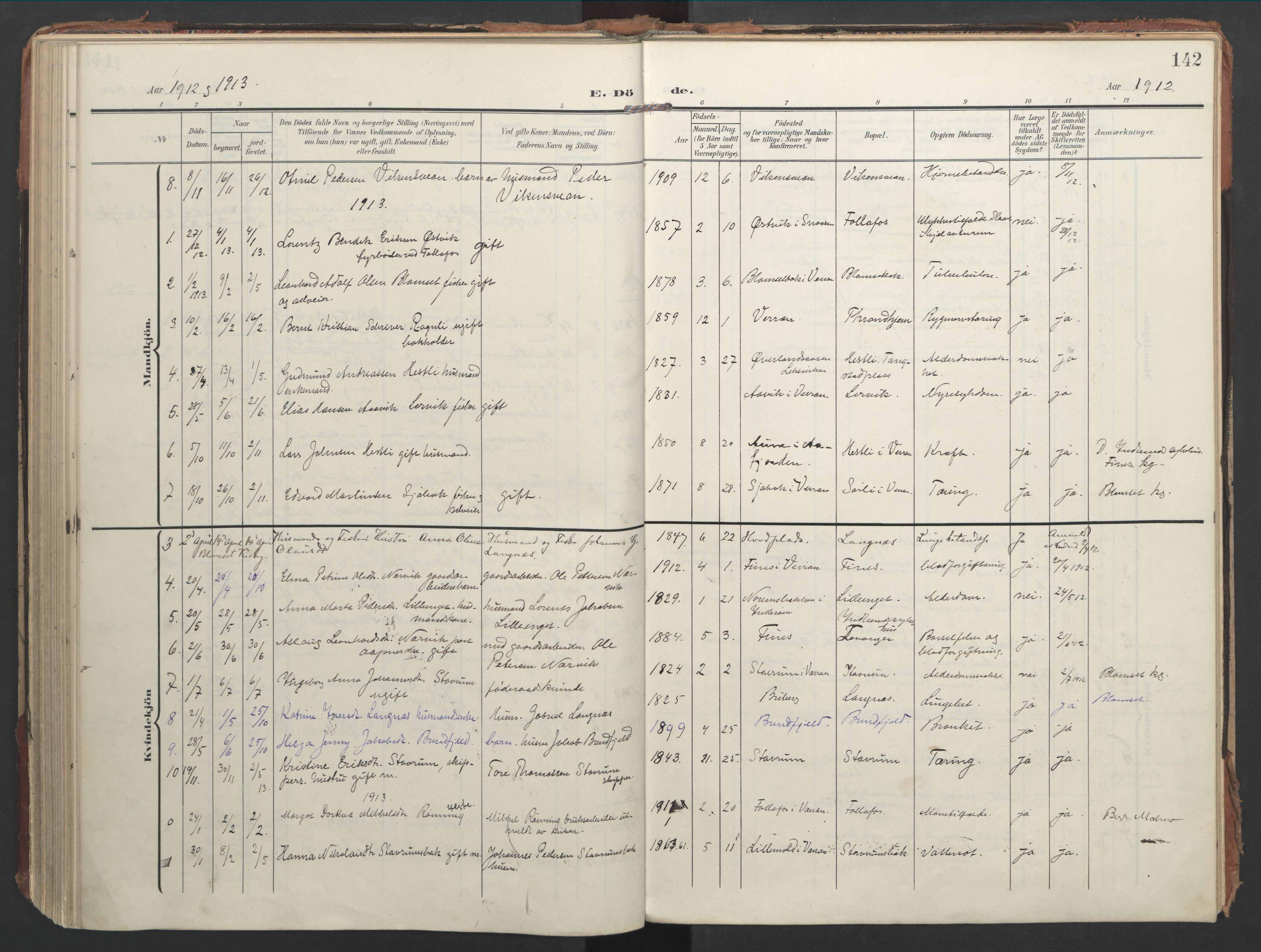SAT, Ministerialprotokoller, klokkerbøker og fødselsregistre - Nord-Trøndelag, 744/L0421: Ministerialbok nr. 744A05, 1905-1930, s. 142