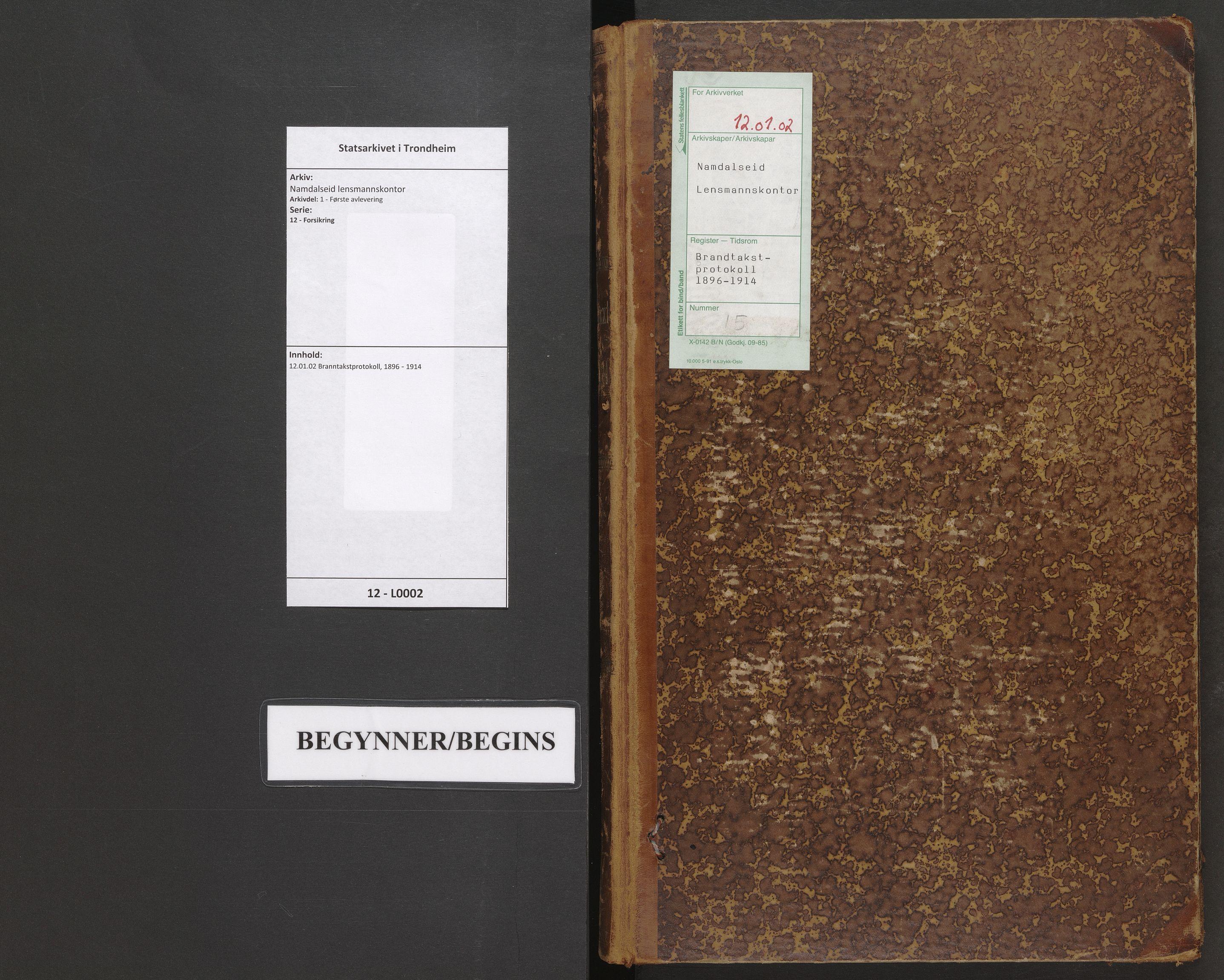 SAT, Namdalseid lensmannskontor, 12/L0002: 12.01.02 Branntakstprotokoll, 1896-1918