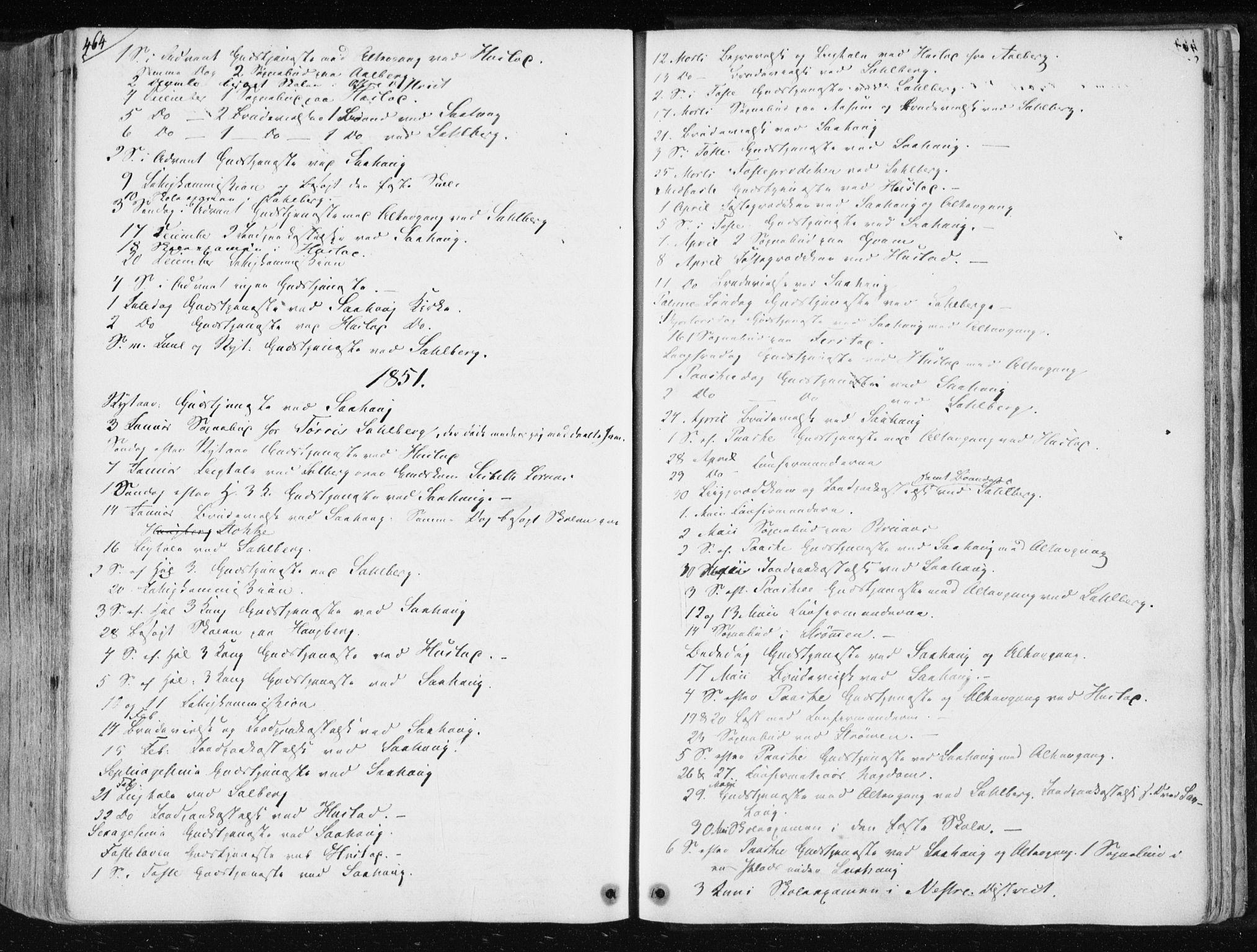 SAT, Ministerialprotokoller, klokkerbøker og fødselsregistre - Nord-Trøndelag, 730/L0280: Ministerialbok nr. 730A07 /1, 1840-1854, s. 464