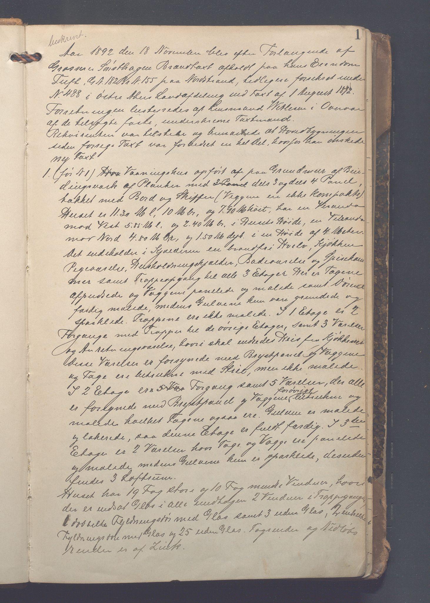 OBA, Lensmennene i Aker, F/Fc/L0005: Branntakstprotokoll, 1892-1902, s. 1