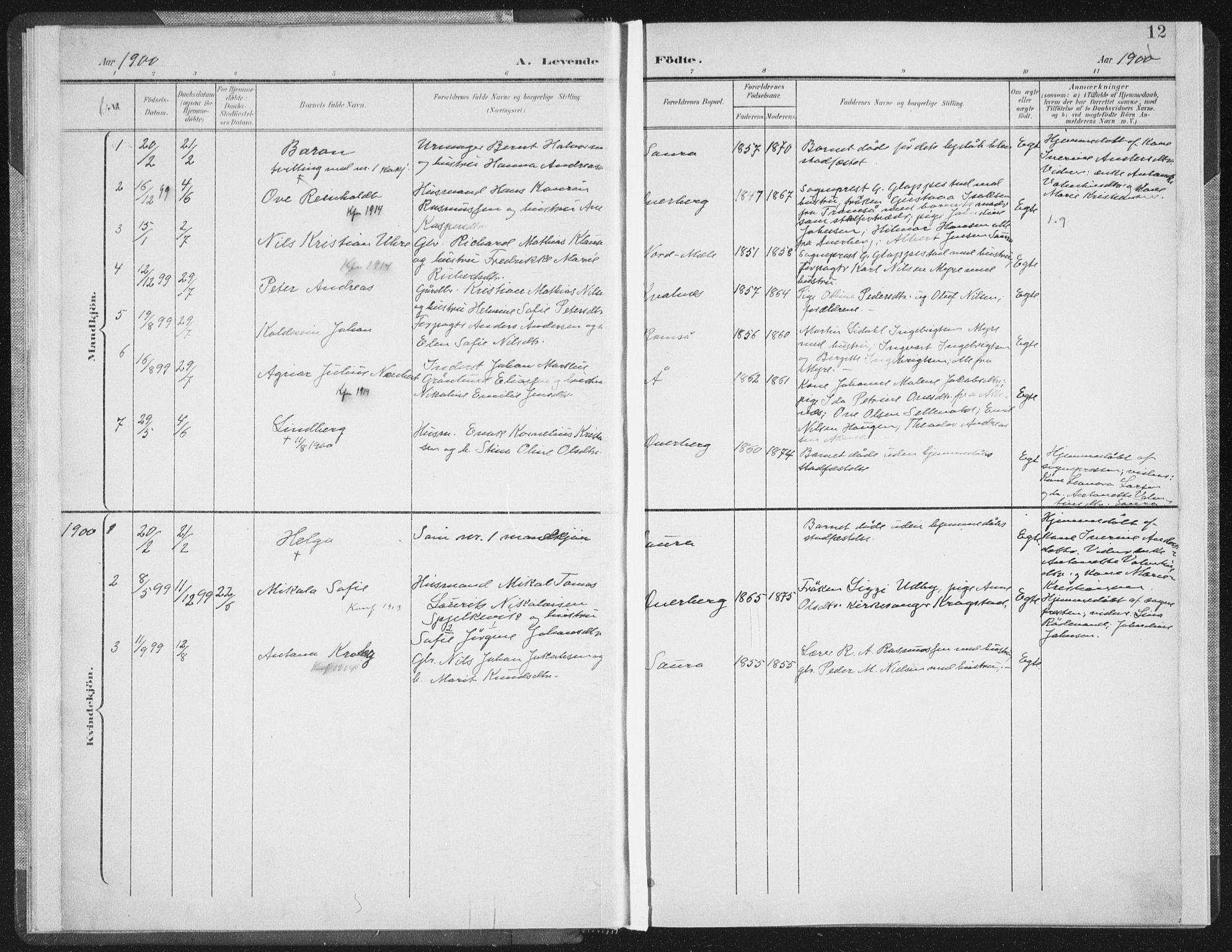 SAT, Ministerialprotokoller, klokkerbøker og fødselsregistre - Nordland, 897/L1400: Ministerialbok nr. 897A07, 1897-1908, s. 12