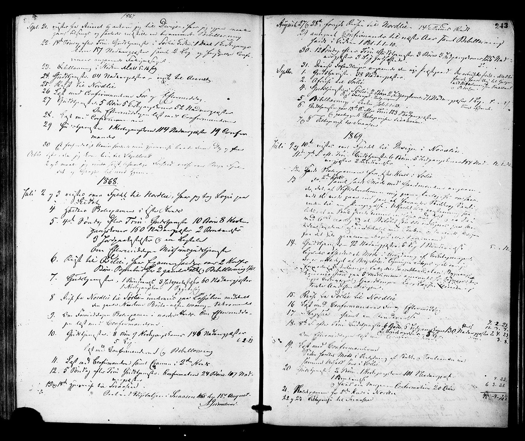 SAT, Ministerialprotokoller, klokkerbøker og fødselsregistre - Nord-Trøndelag, 755/L0493: Ministerialbok nr. 755A02, 1865-1881, s. 243