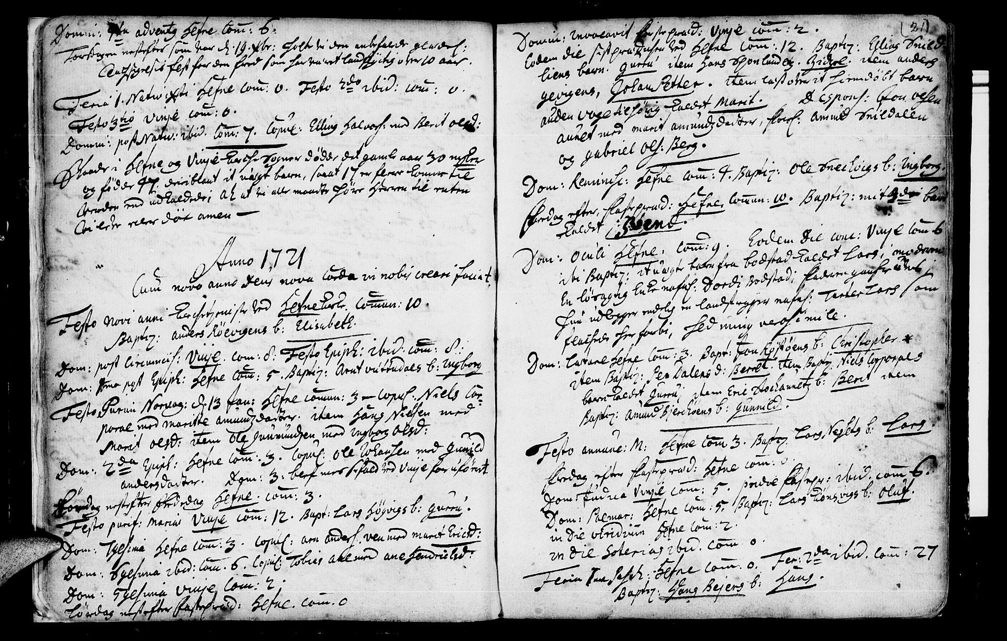 SAT, Ministerialprotokoller, klokkerbøker og fødselsregistre - Sør-Trøndelag, 630/L0488: Ministerialbok nr. 630A01, 1717-1756, s. 20-21