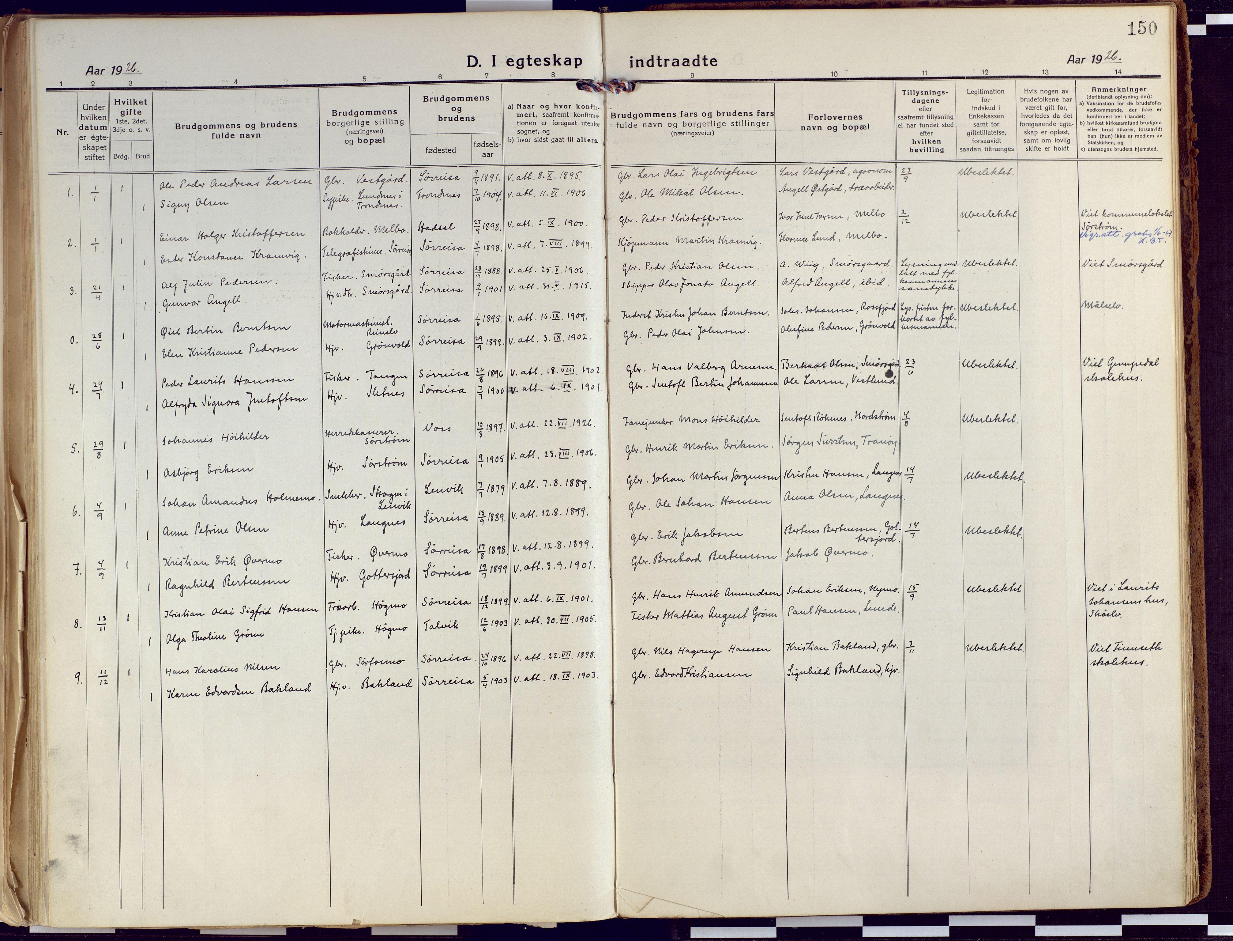 SATØ, Tranøy sokneprestkontor, I/Ia/Iaa/L0015kirke: Ministerialbok nr. 15, 1919-1928, s. 150
