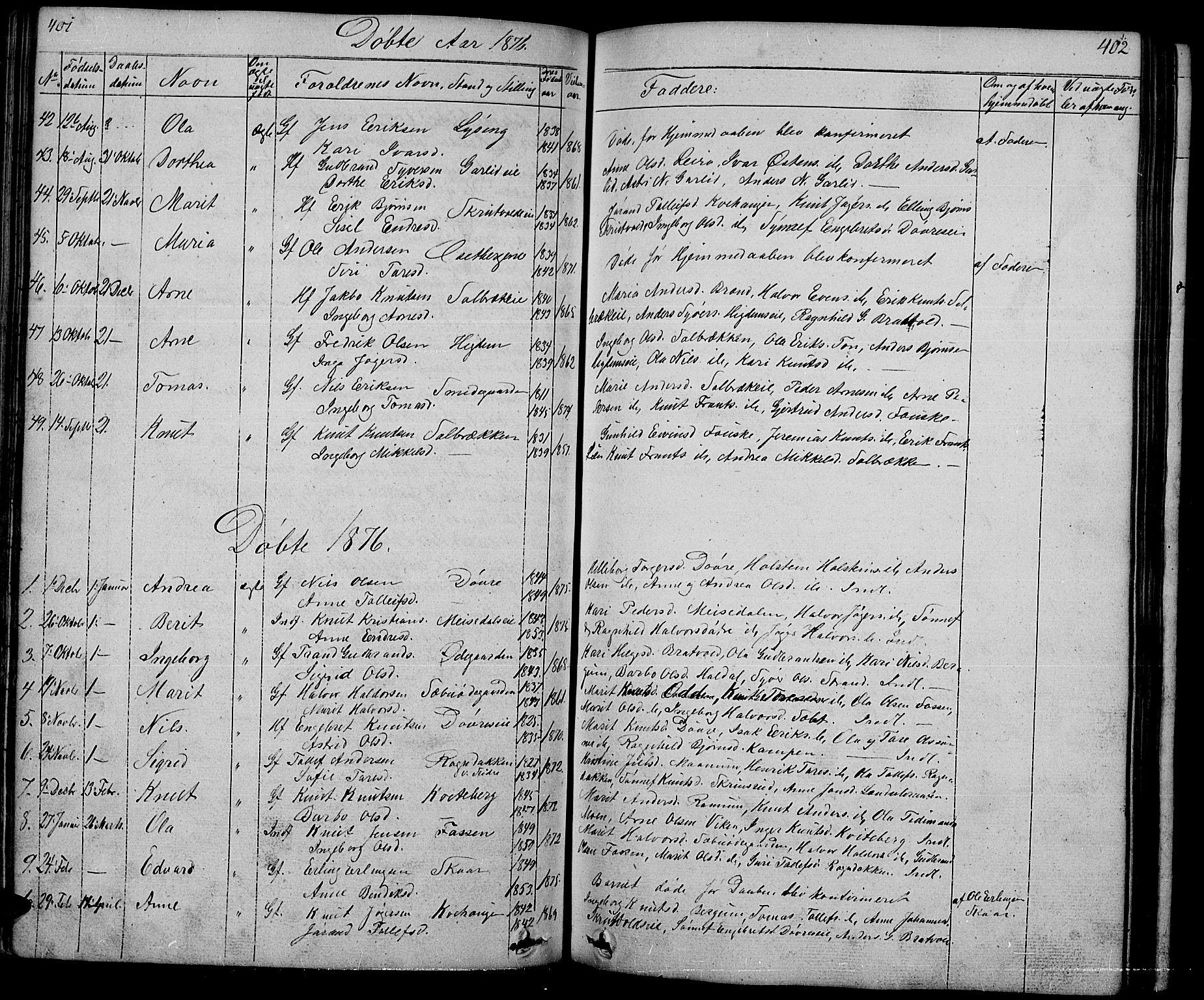 SAH, Nord-Aurdal prestekontor, Klokkerbok nr. 1, 1834-1887, s. 401-402