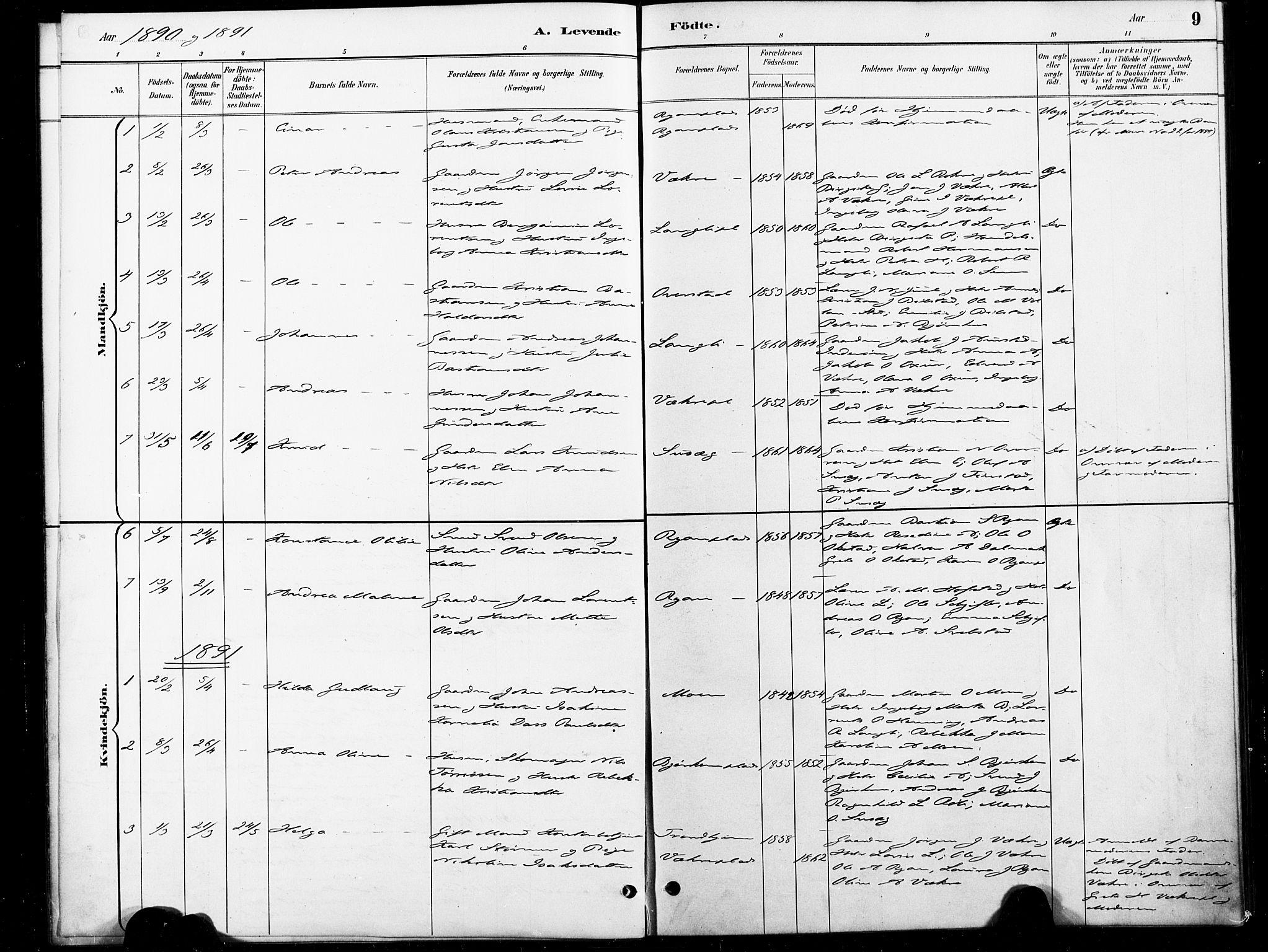 SAT, Ministerialprotokoller, klokkerbøker og fødselsregistre - Nord-Trøndelag, 738/L0364: Ministerialbok nr. 738A01, 1884-1902, s. 9