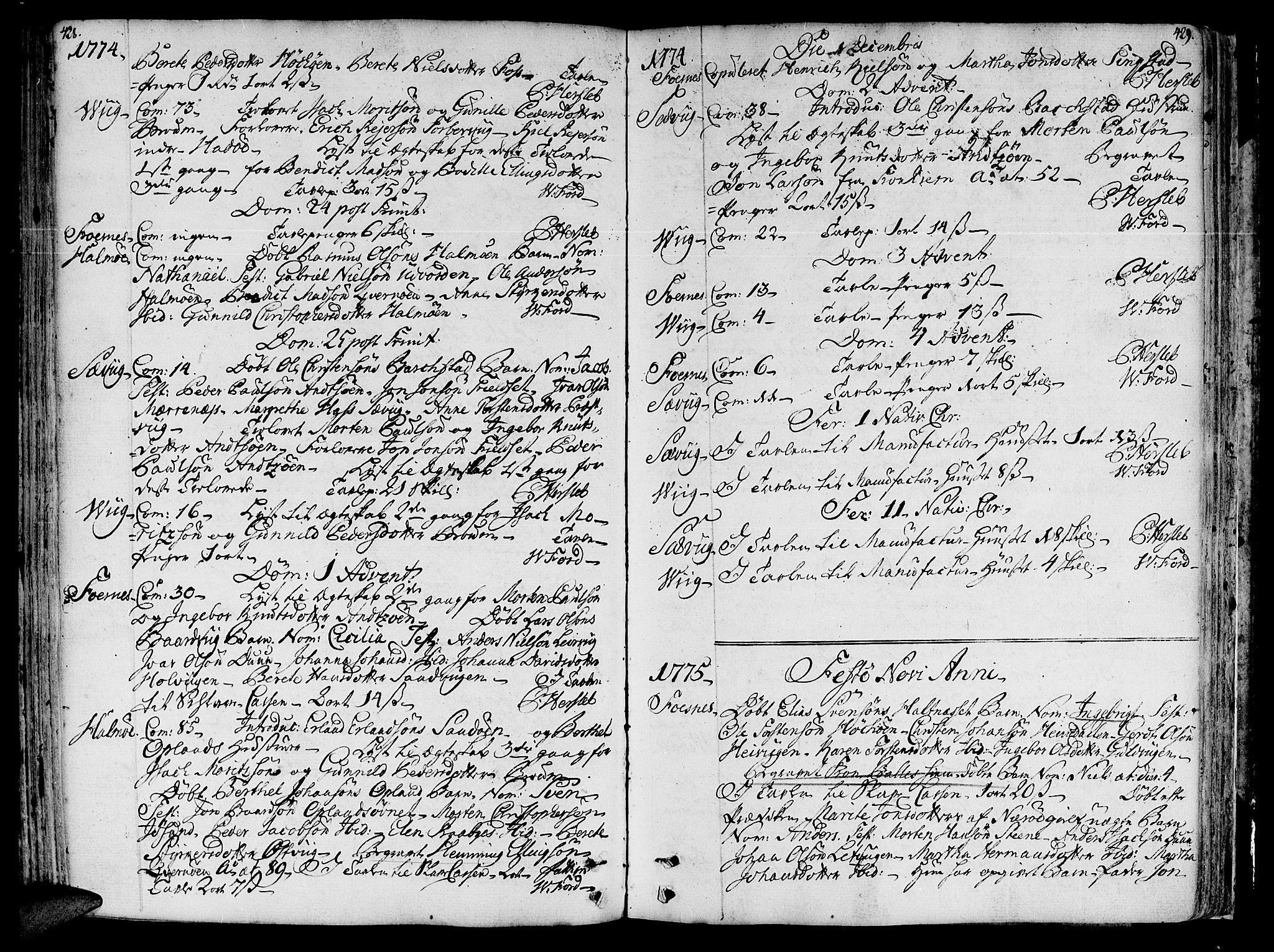 SAT, Ministerialprotokoller, klokkerbøker og fødselsregistre - Nord-Trøndelag, 773/L0607: Ministerialbok nr. 773A01, 1751-1783, s. 428-429