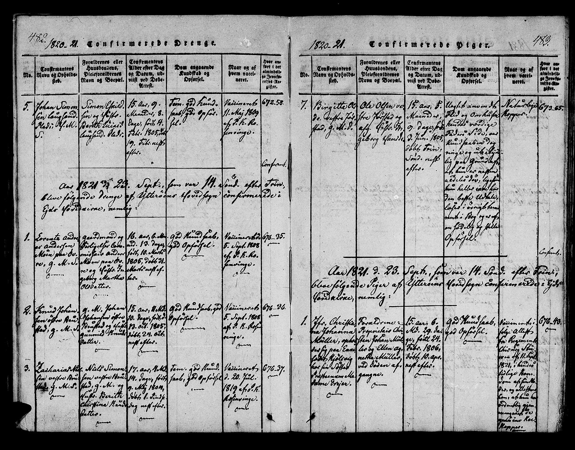 SAT, Ministerialprotokoller, klokkerbøker og fødselsregistre - Nord-Trøndelag, 722/L0217: Ministerialbok nr. 722A04, 1817-1842, s. 482-483