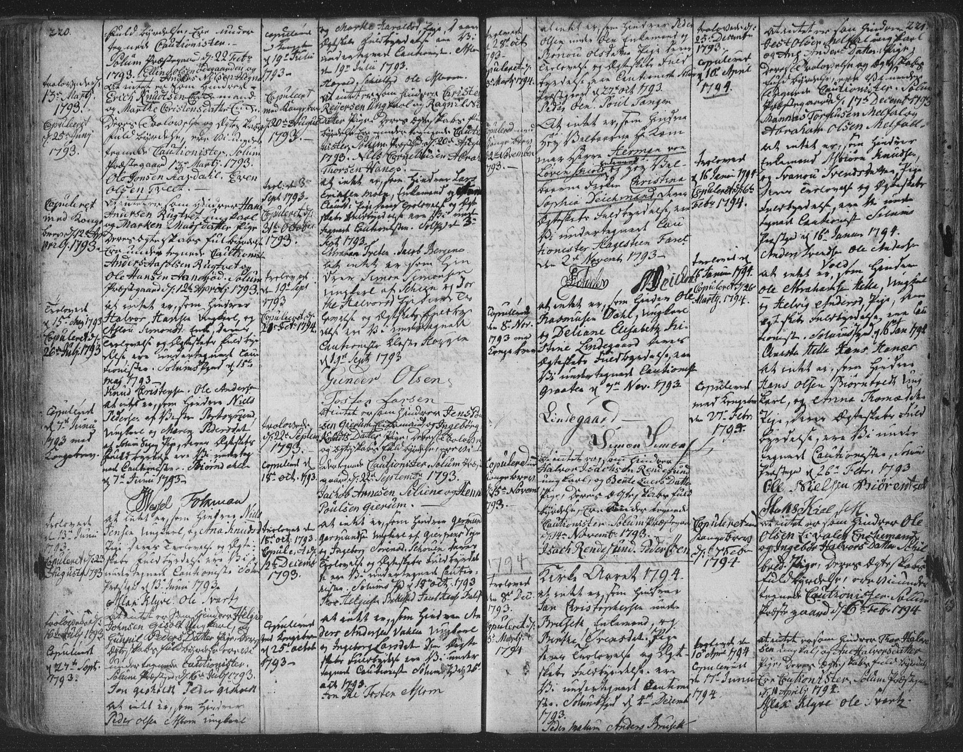 SAKO, Solum kirkebøker, F/Fa/L0003: Ministerialbok nr. I 3, 1761-1814, s. 220-221