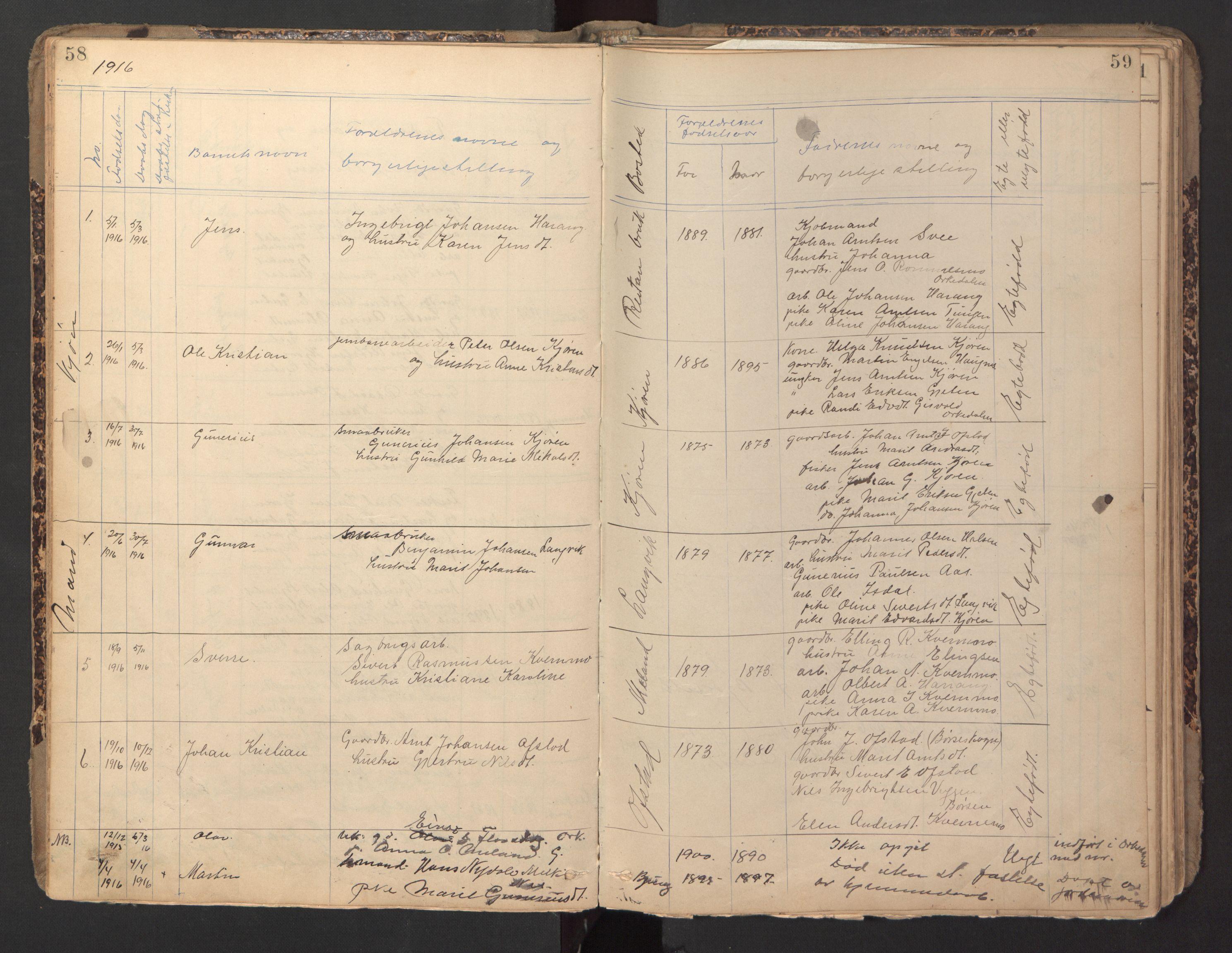 SAT, Ministerialprotokoller, klokkerbøker og fødselsregistre - Sør-Trøndelag, 670/L0837: Klokkerbok nr. 670C01, 1905-1946, s. 58-59