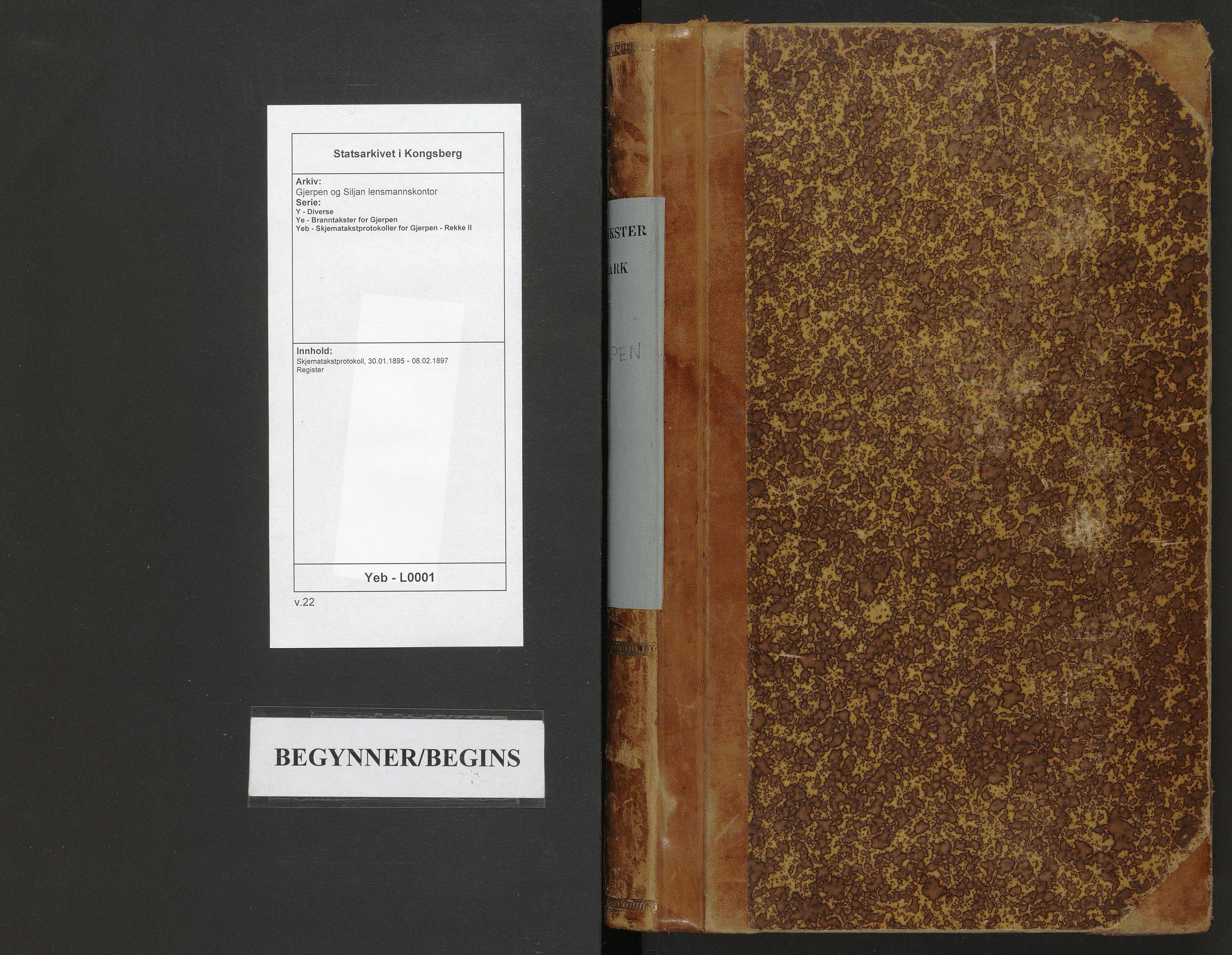 SAKO, Gjerpen og Siljan lensmannskontor, Y/Ye/Yeb/L0001: Skjematakstprotokoll, 1895-1897