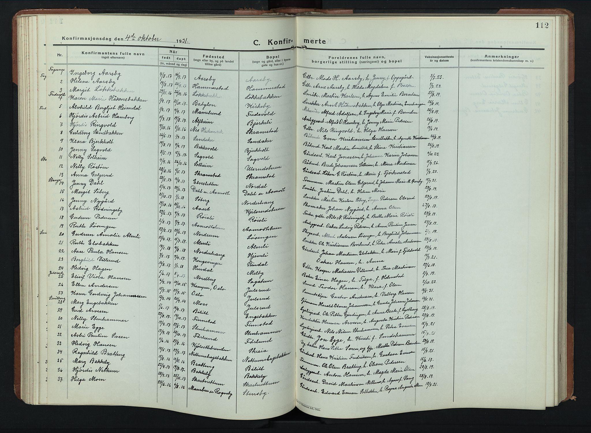 SAH, Balke prestekontor, Klokkerbok nr. 2, 1929-1951, s. 112
