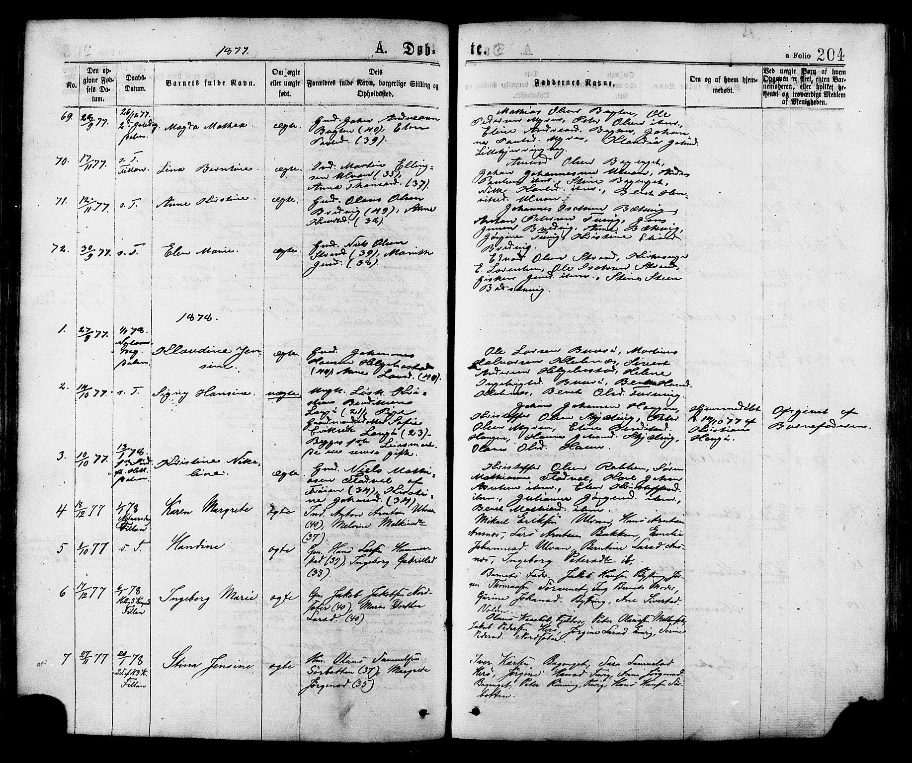 SAT, Ministerialprotokoller, klokkerbøker og fødselsregistre - Sør-Trøndelag, 634/L0532: Ministerialbok nr. 634A08, 1871-1881, s. 204