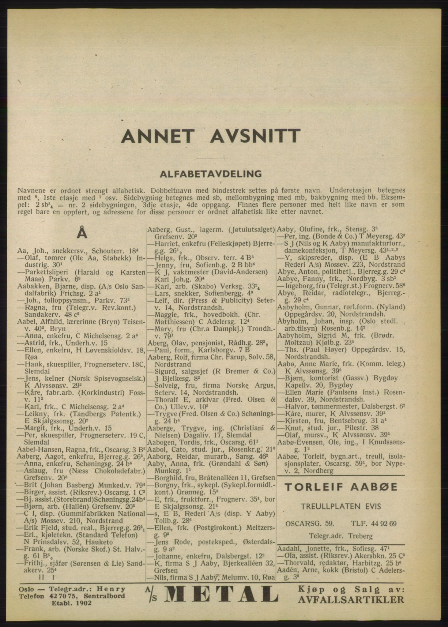 RA, Oslo adressebok (publikasjon)*, 1950, s. 41