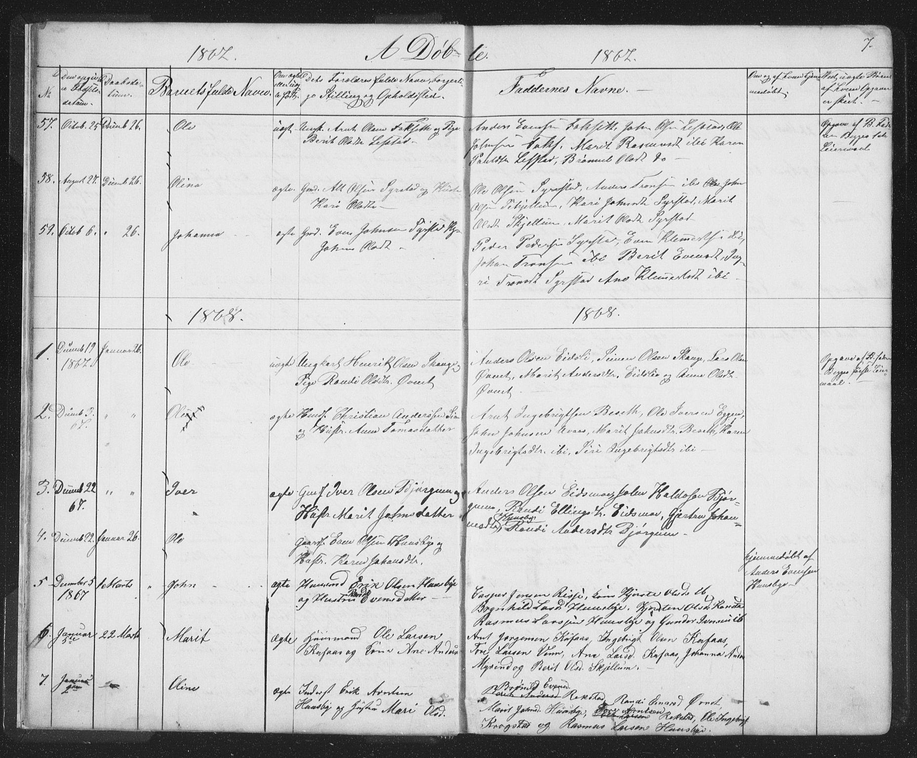 SAT, Ministerialprotokoller, klokkerbøker og fødselsregistre - Sør-Trøndelag, 667/L0798: Klokkerbok nr. 667C03, 1867-1929, s. 7