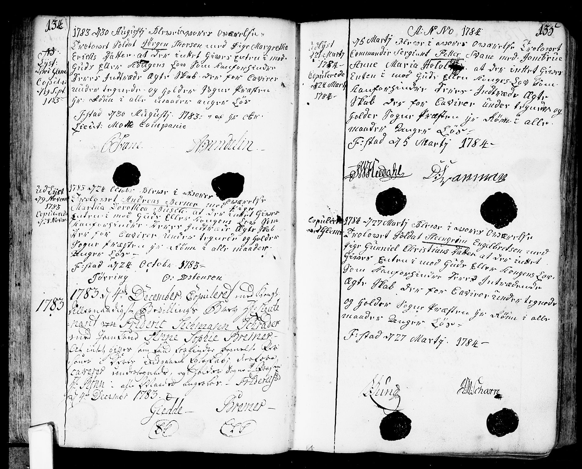 SAO, Fredrikstad prestekontor Kirkebøker, F/Fa/L0002: Ministerialbok nr. 2, 1750-1804, s. 134-135