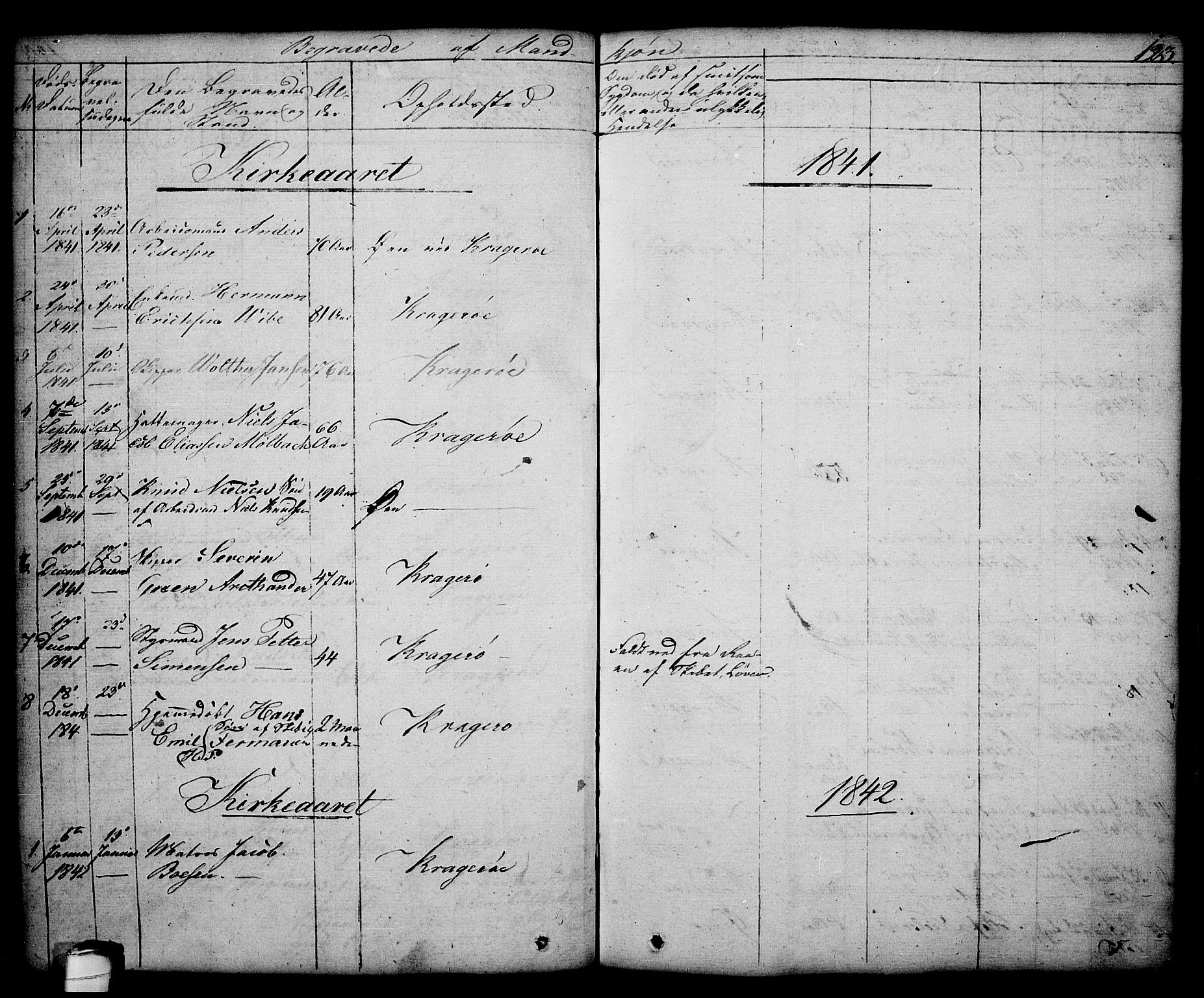 SAKO, Kragerø kirkebøker, G/Ga/L0003: Klokkerbok nr. 3, 1832-1852, s. 123
