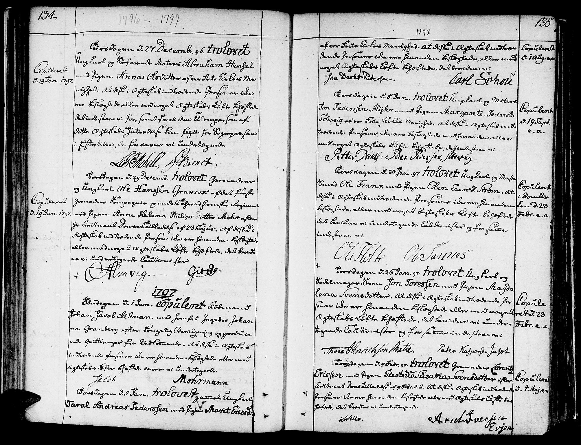 SAT, Ministerialprotokoller, klokkerbøker og fødselsregistre - Sør-Trøndelag, 602/L0105: Ministerialbok nr. 602A03, 1774-1814, s. 134-135