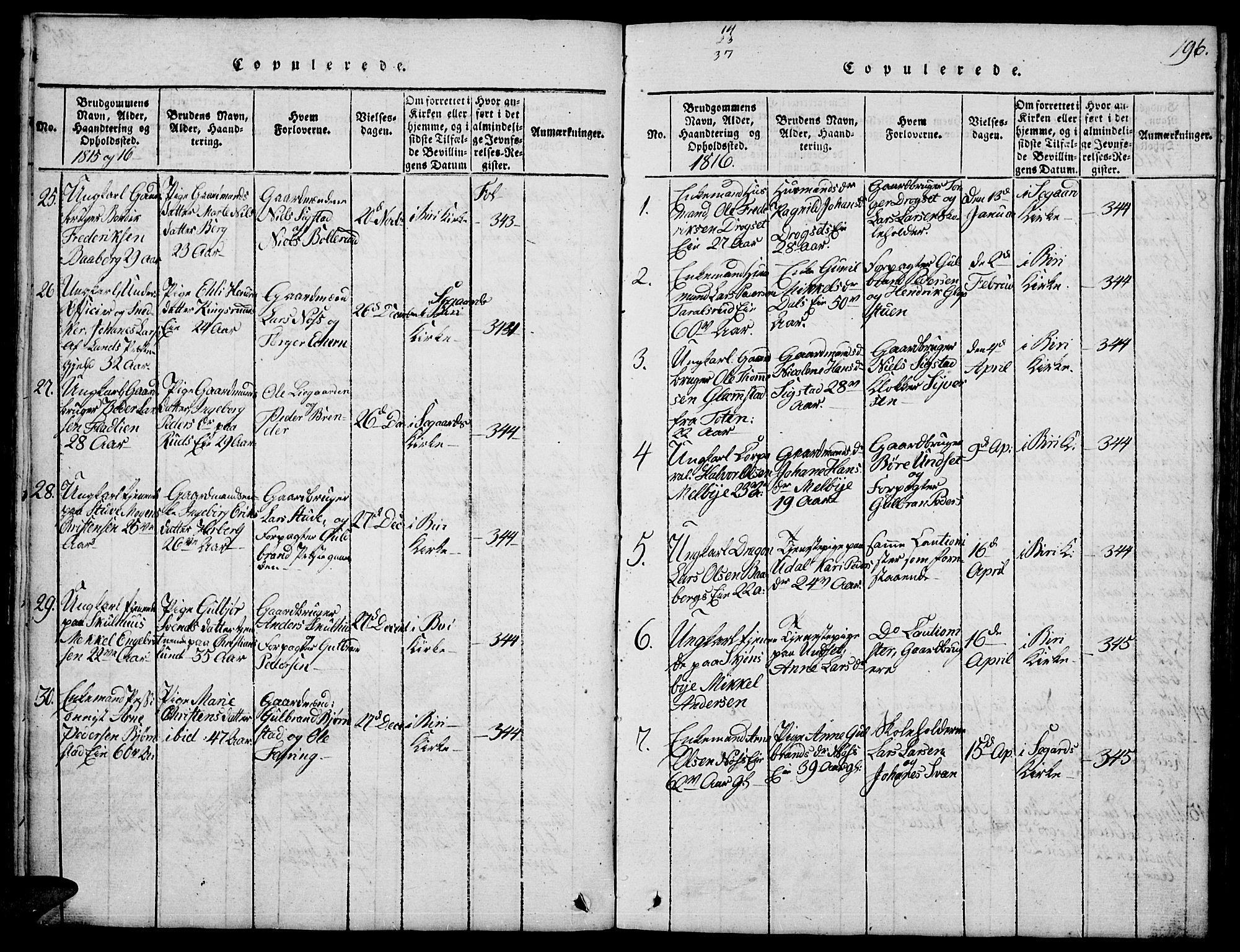 SAH, Biri prestekontor, Klokkerbok nr. 1, 1814-1828, s. 196