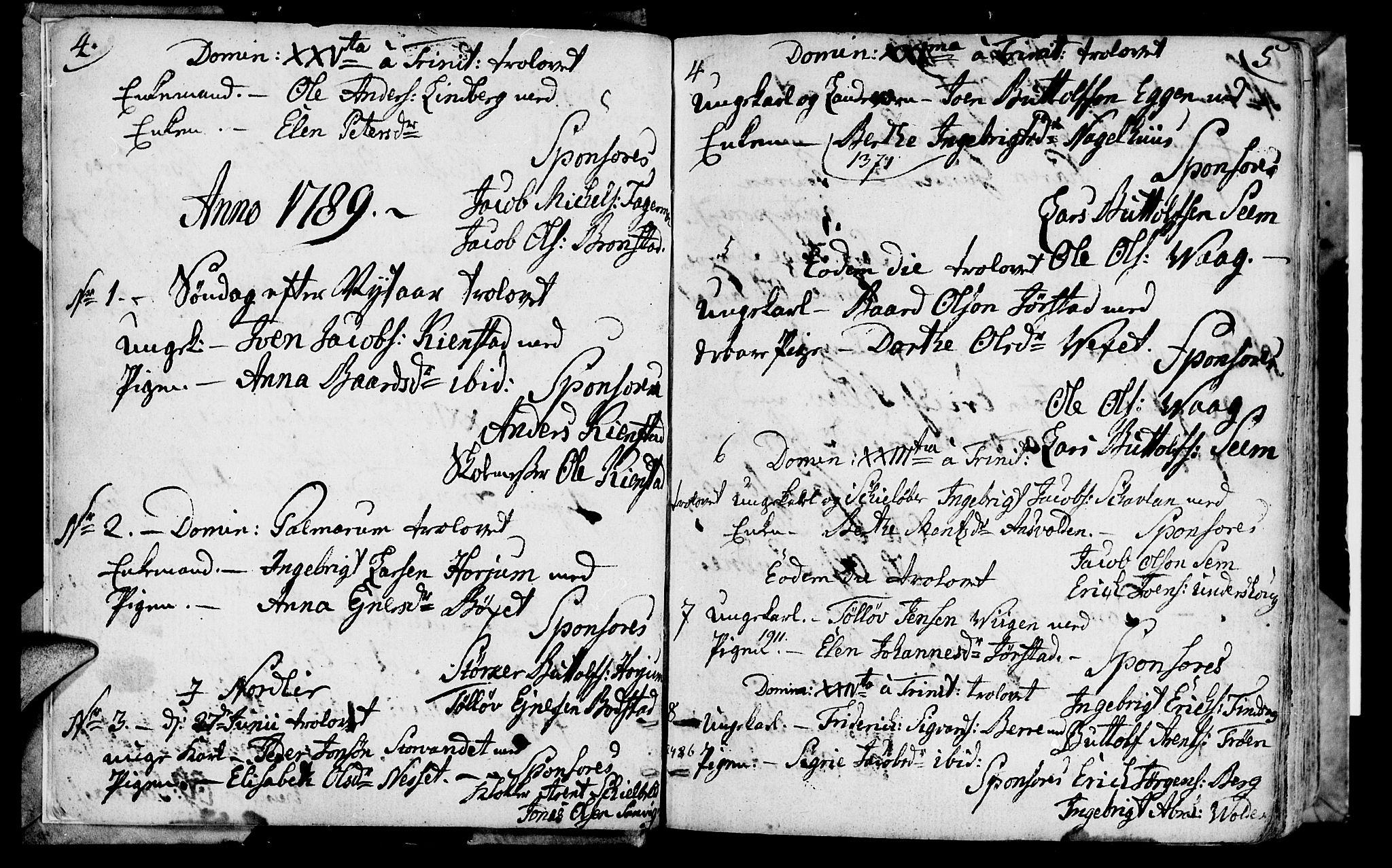 SAT, Ministerialprotokoller, klokkerbøker og fødselsregistre - Nord-Trøndelag, 749/L0468: Ministerialbok nr. 749A02, 1787-1817, s. 4-5