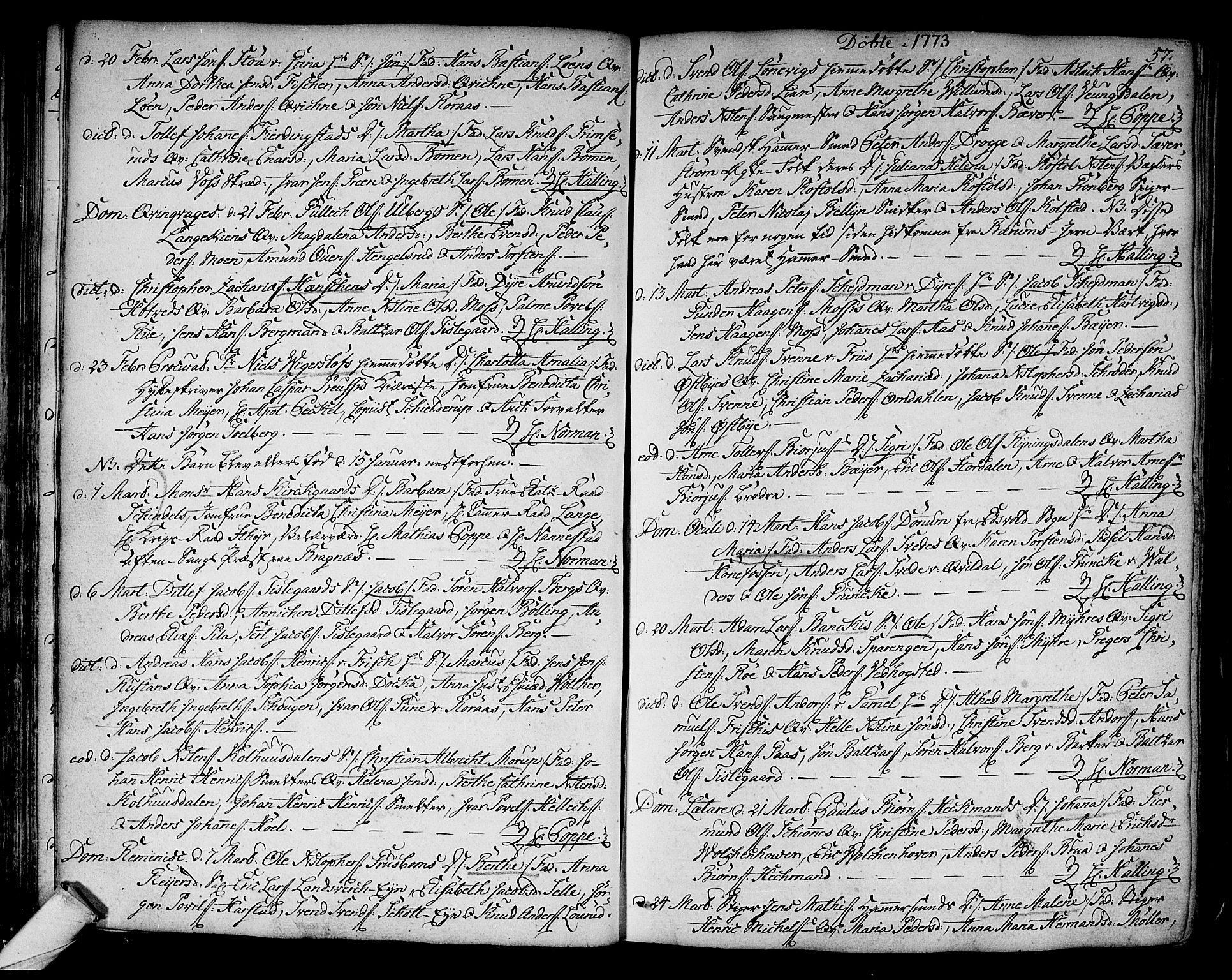 SAKO, Kongsberg kirkebøker, F/Fa/L0005: Ministerialbok nr. I 5, 1769-1782, s. 57