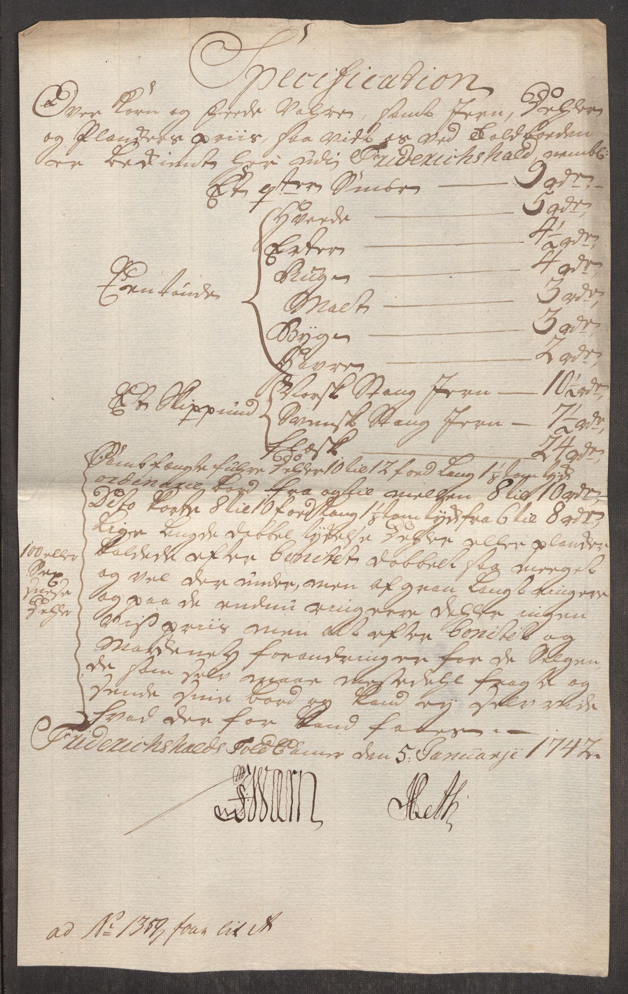 RA, Rentekammeret inntil 1814, Realistisk ordnet avdeling, Oe/L0002: [Ø1]: Priskuranter, 1740-1744, s. 190