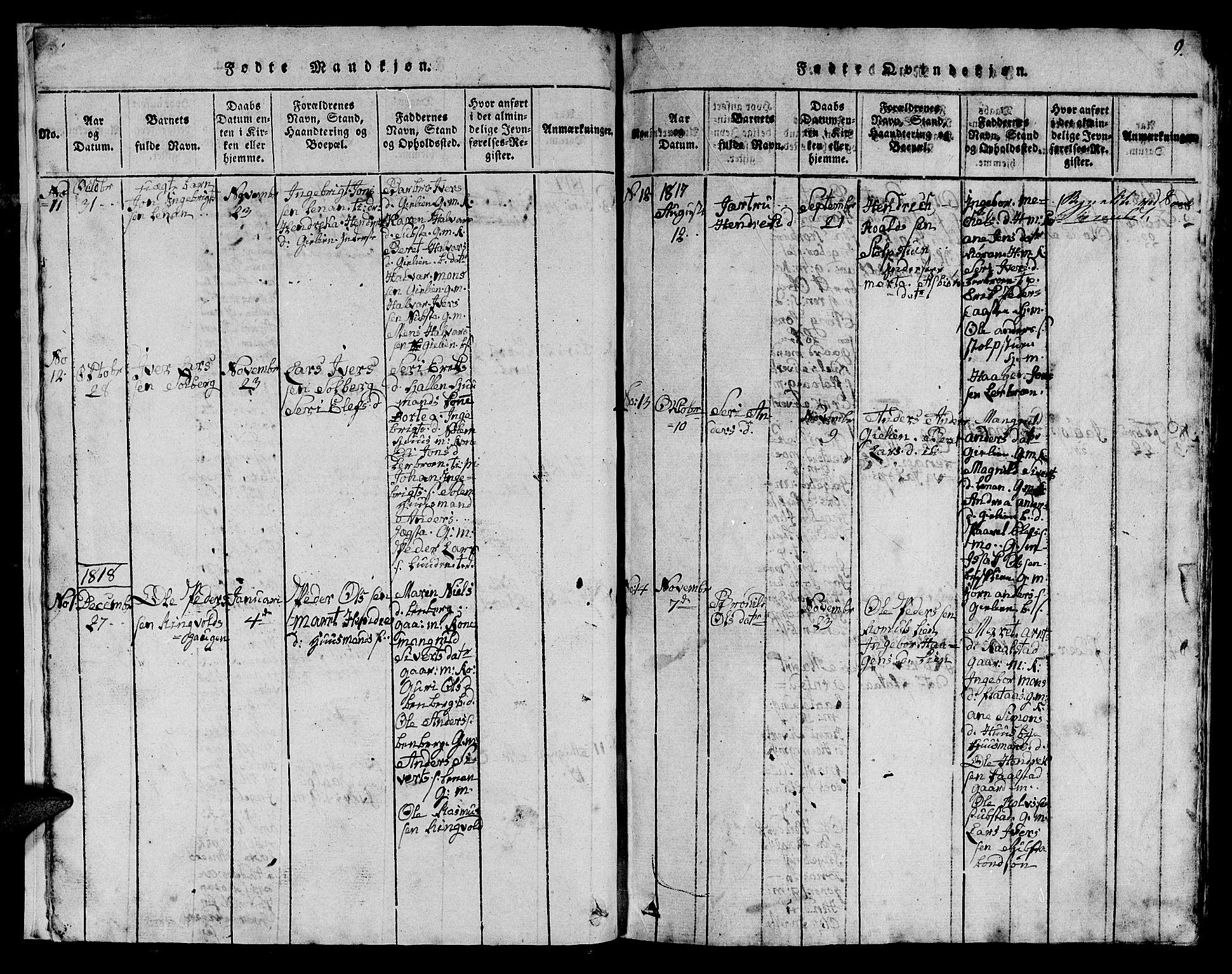 SAT, Ministerialprotokoller, klokkerbøker og fødselsregistre - Sør-Trøndelag, 613/L0393: Klokkerbok nr. 613C01, 1816-1886, s. 9