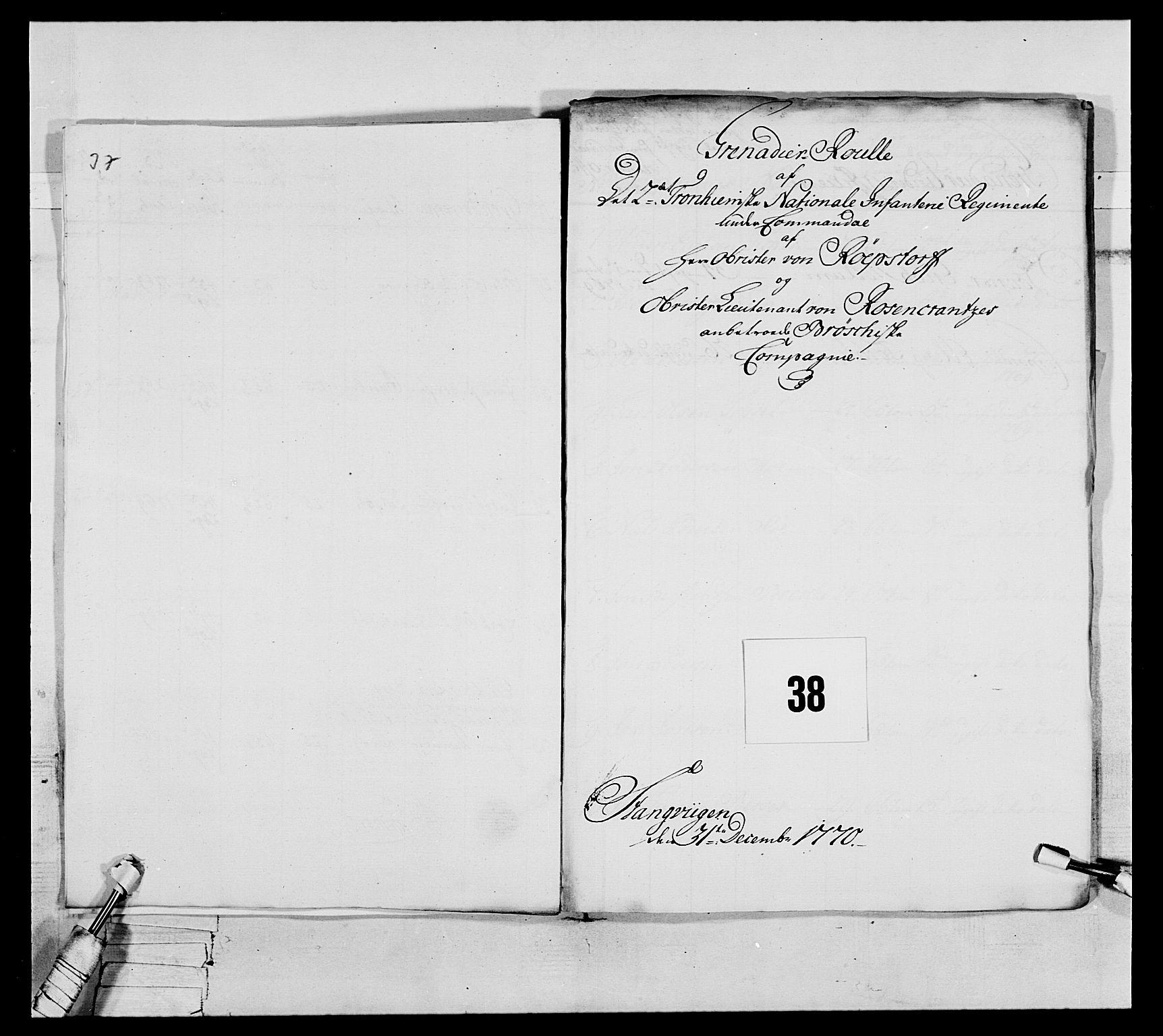 RA, Generalitets- og kommissariatskollegiet, Det kongelige norske kommissariatskollegium, E/Eh/L0076: 2. Trondheimske nasjonale infanteriregiment, 1766-1773, s. 116