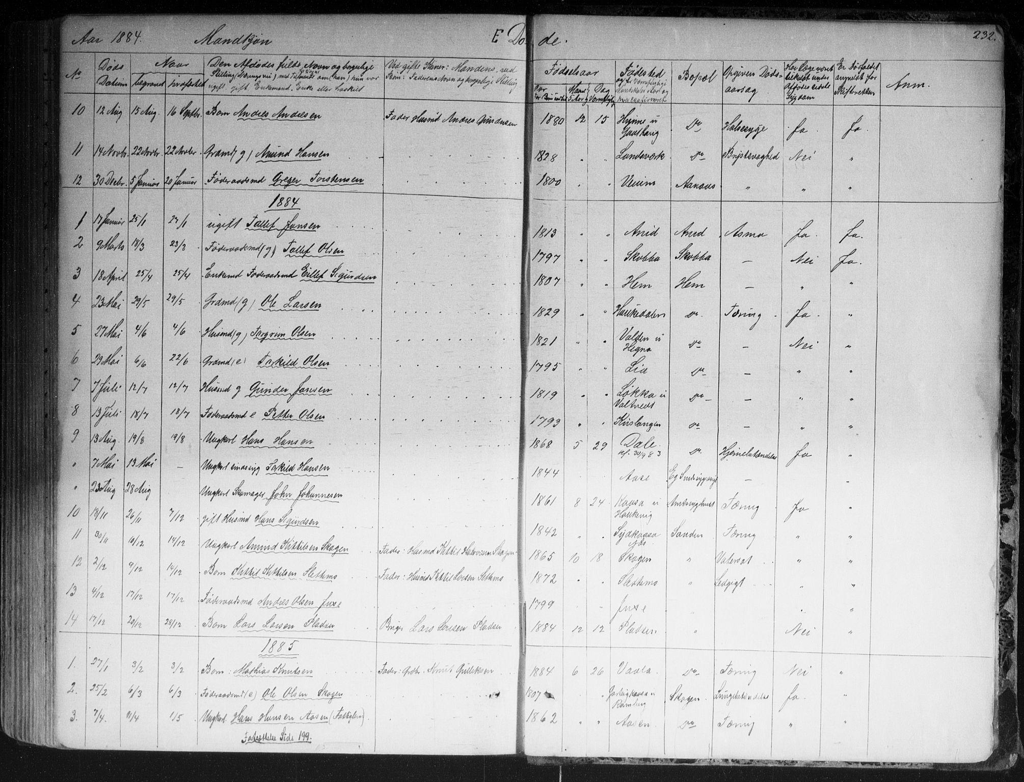 SAKO, Sauherad kirkebøker, G/Ga/L0003: Klokkerbok nr. I 3, 1866-1905, s. 232