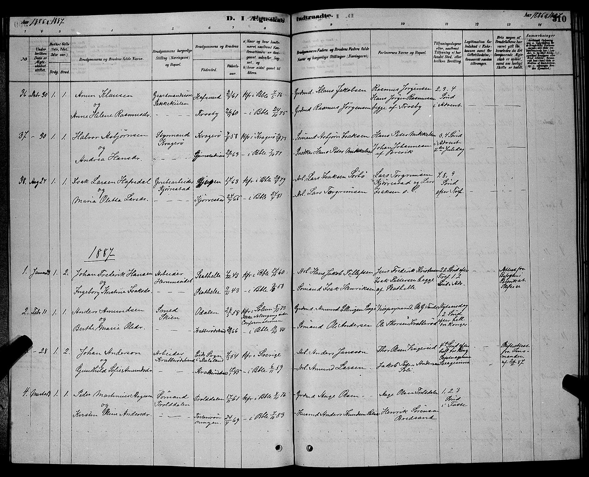 SAKO, Bamble kirkebøker, G/Ga/L0008: Klokkerbok nr. I 8, 1878-1888, s. 310
