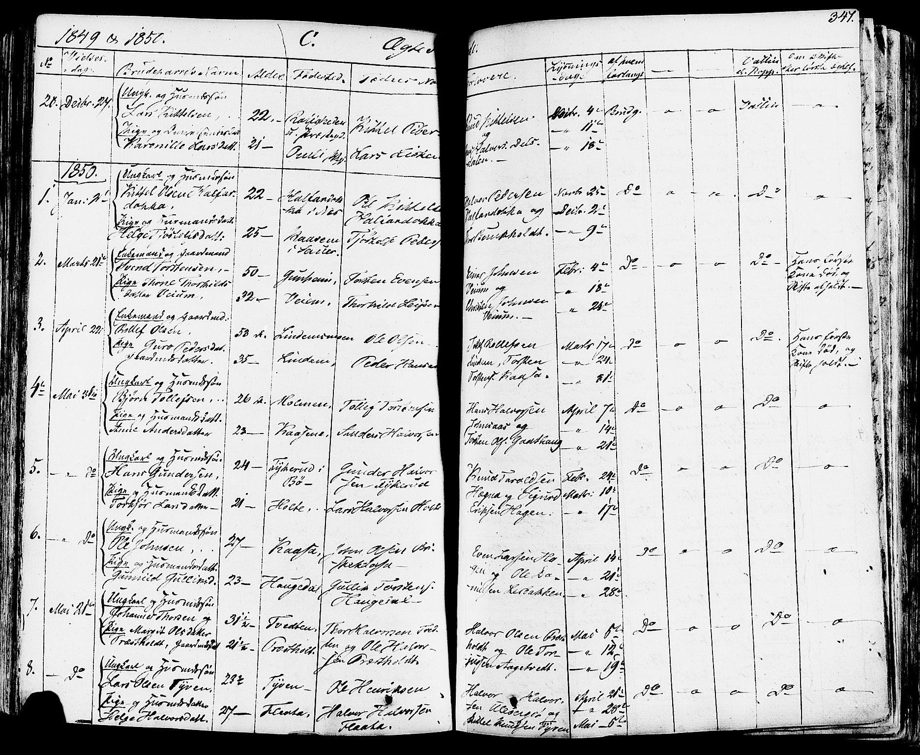 SAKO, Sauherad kirkebøker, F/Fa/L0006: Ministerialbok nr. I 6, 1827-1850, s. 347