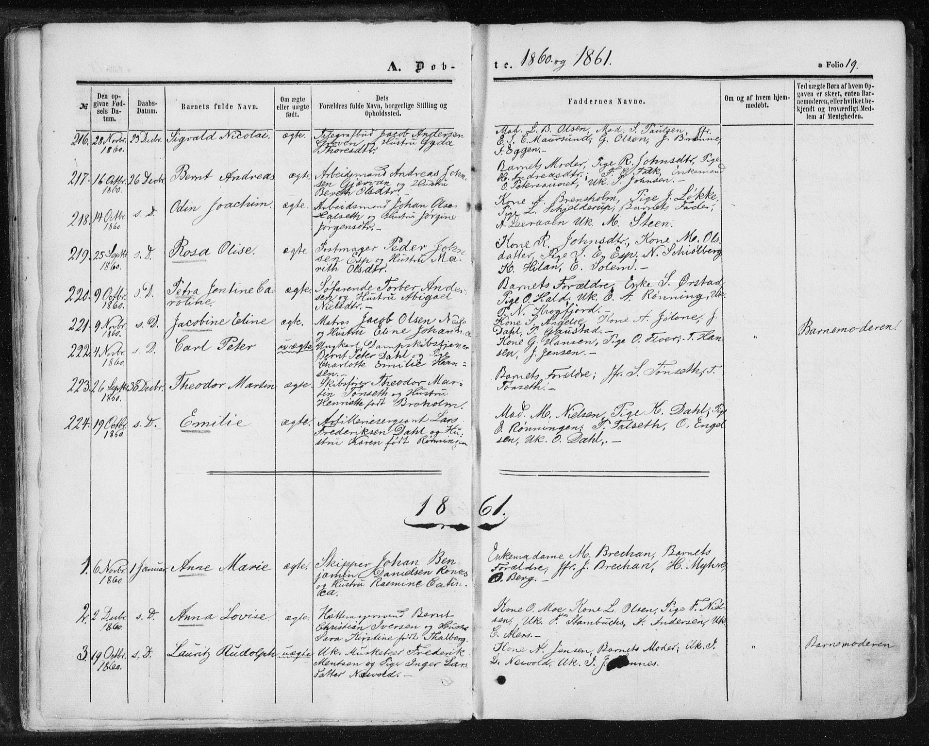 SAT, Ministerialprotokoller, klokkerbøker og fødselsregistre - Sør-Trøndelag, 602/L0115: Ministerialbok nr. 602A13, 1860-1872, s. 19