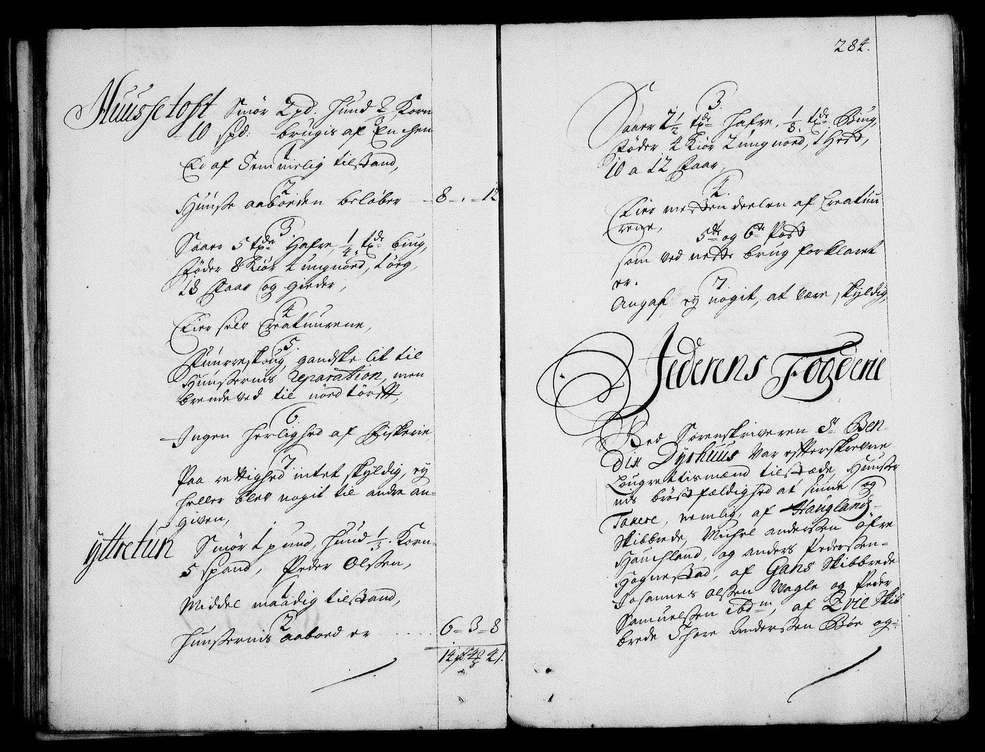RA, Rentekammeret inntil 1814, Realistisk ordnet avdeling, On/L0003: [Jj 4]: Kommisjonsforretning over Vilhelm Hanssøns forpaktning av Halsnøy klosters gods, 1712-1722, s. 283b-284a