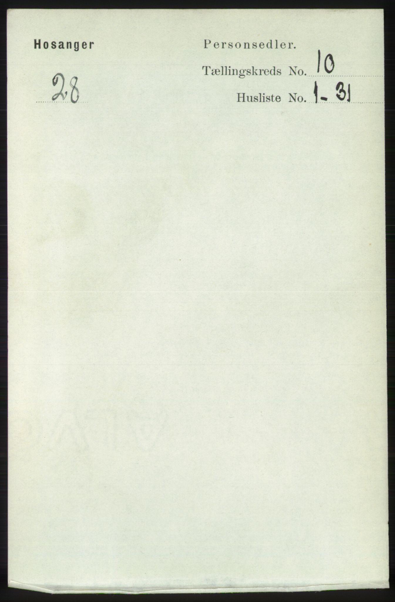 RA, Folketelling 1891 for 1253 Hosanger herred, 1891, s. 3457