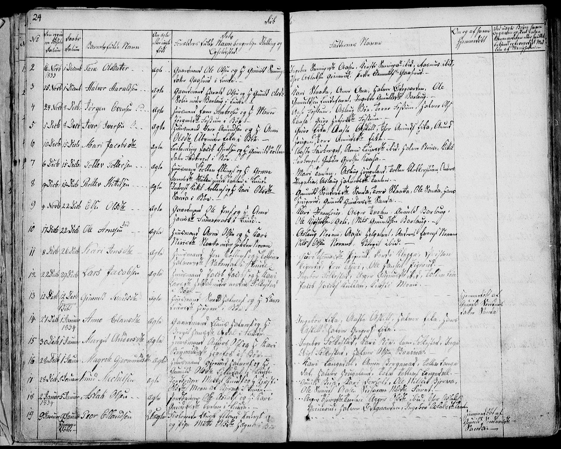 SAKO, Bø kirkebøker, F/Fa/L0007: Ministerialbok nr. 7, 1831-1848, s. 24
