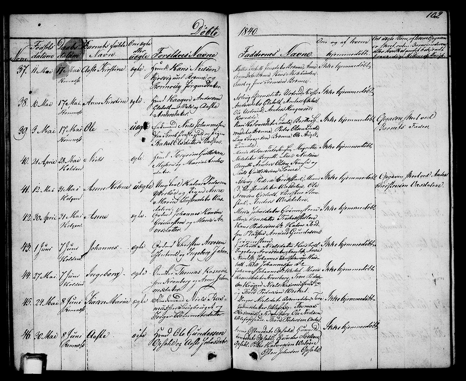 SAKO, Holla kirkebøker, G/Ga/L0002: Klokkerbok nr. I 2, 1830-1848, s. 102