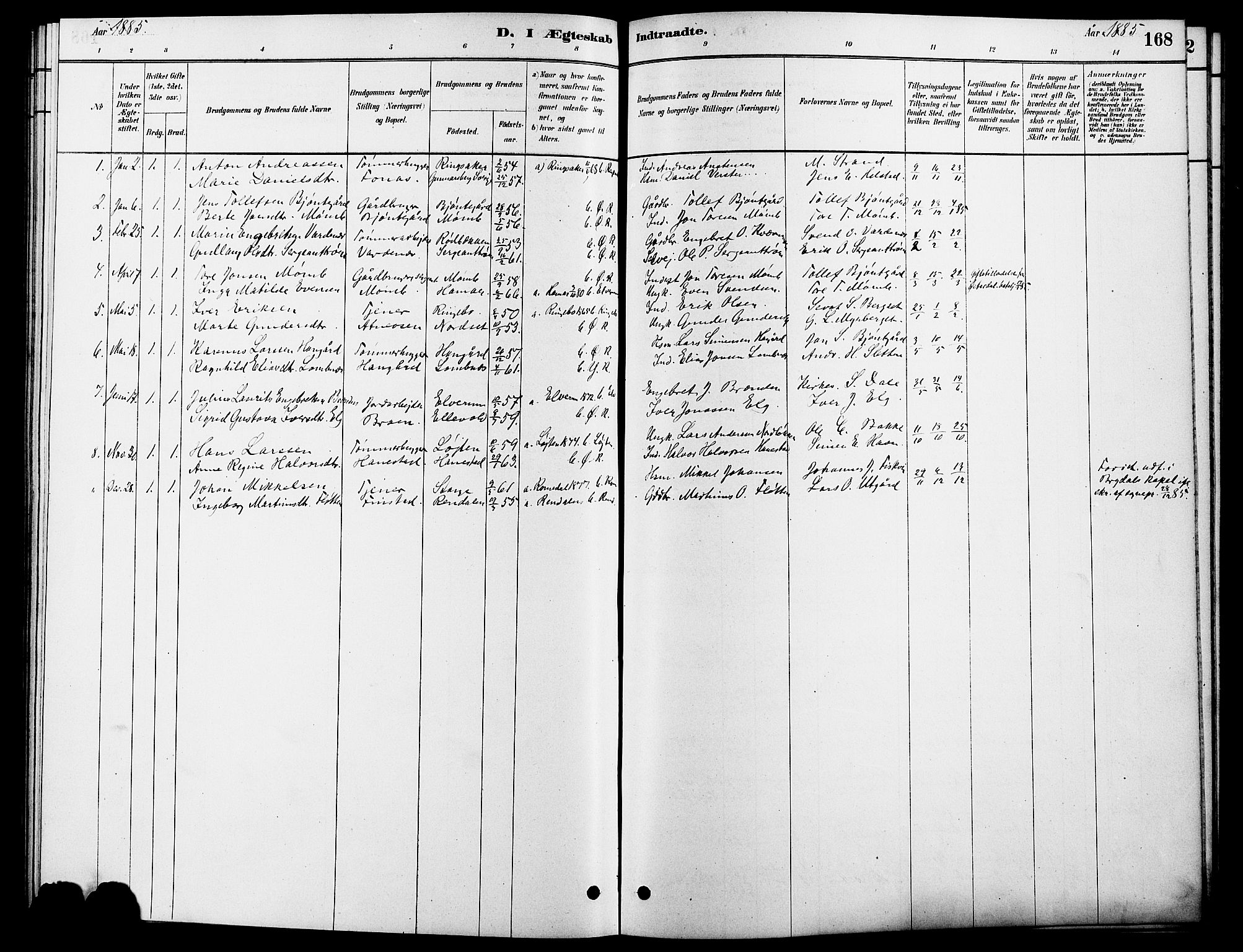 SAH, Rendalen prestekontor, H/Ha/Hab/L0003: Klokkerbok nr. 3, 1879-1904, s. 168
