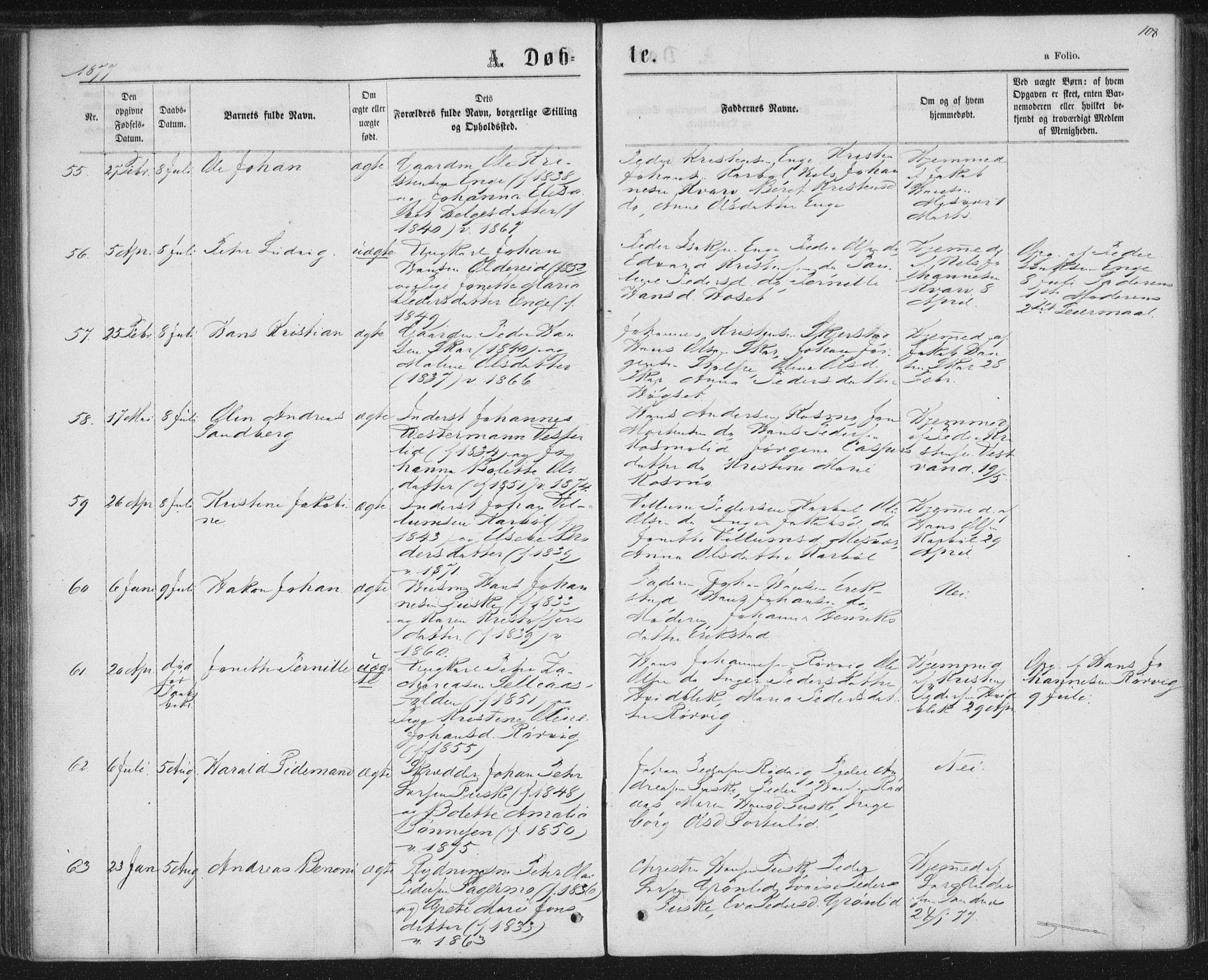 SAT, Ministerialprotokoller, klokkerbøker og fødselsregistre - Nordland, 852/L0739: Ministerialbok nr. 852A09, 1866-1877, s. 108